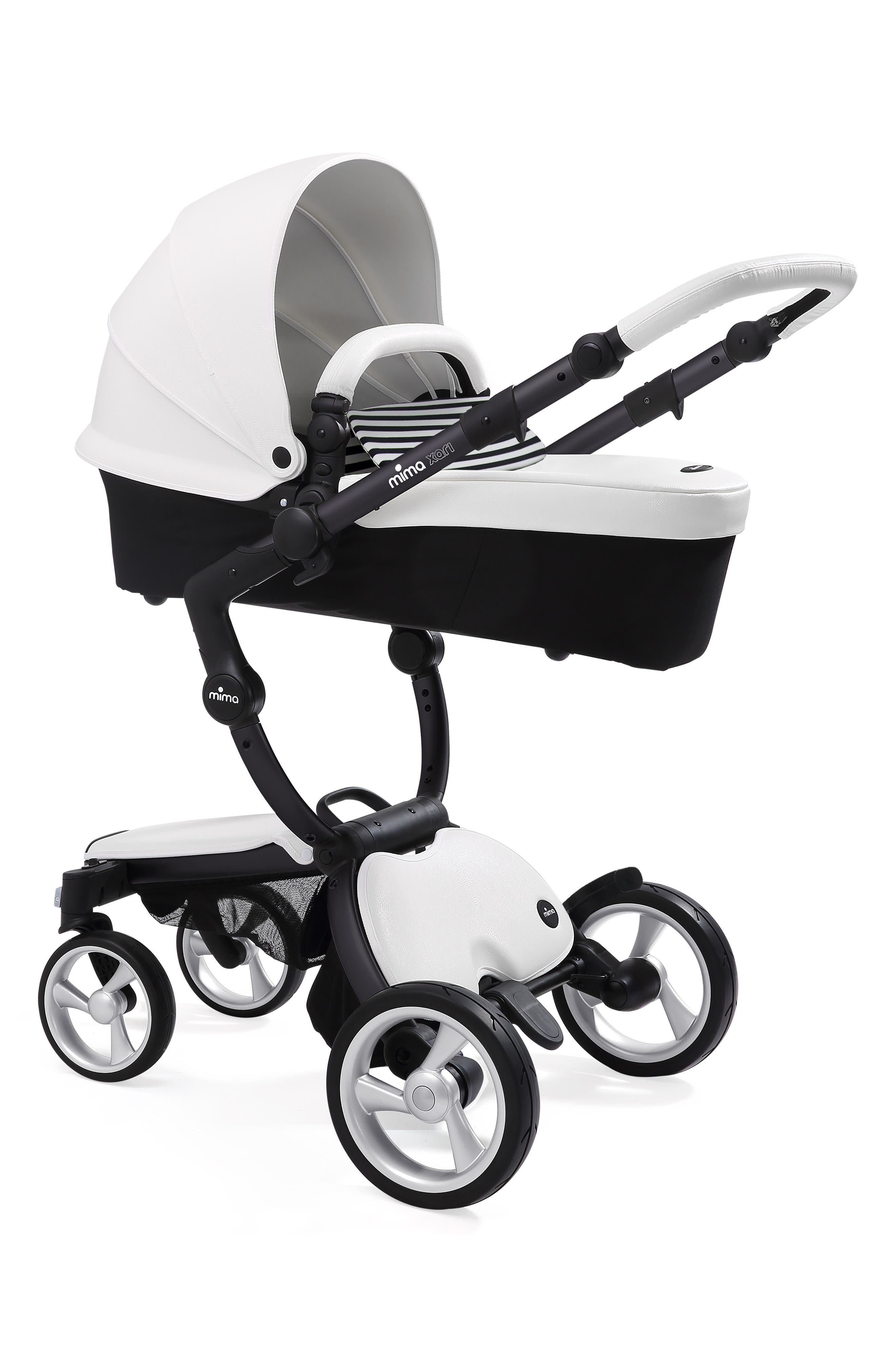 MIMA,                             Xari Black Chassis Stroller with Reversible Reclining Seat & Carrycot,                             Alternate thumbnail 2, color,                             SNOW WHITE/ BLACK AND WHITE