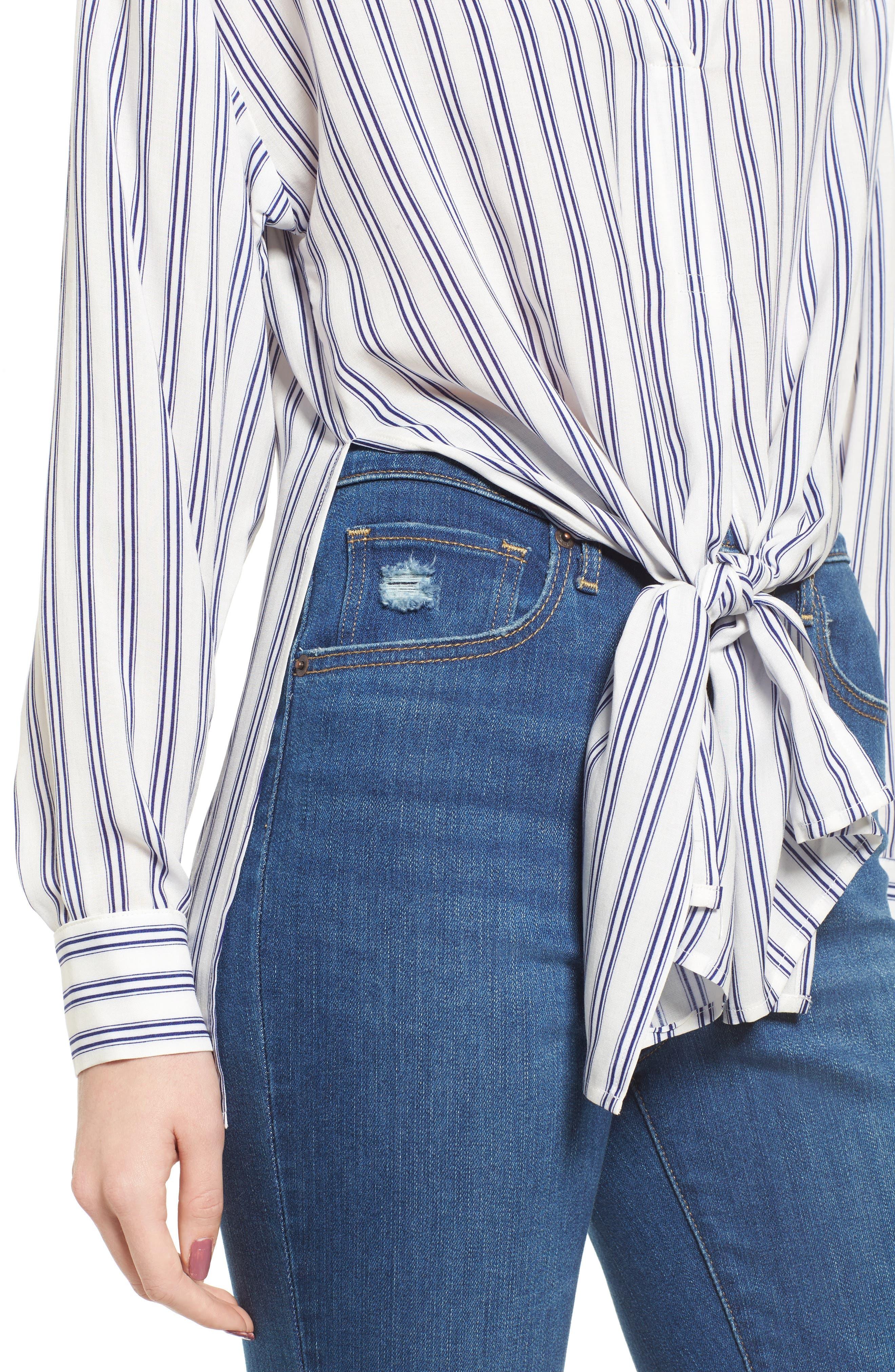 Stripe Tie Waist Blouse,                             Alternate thumbnail 4, color,                             100