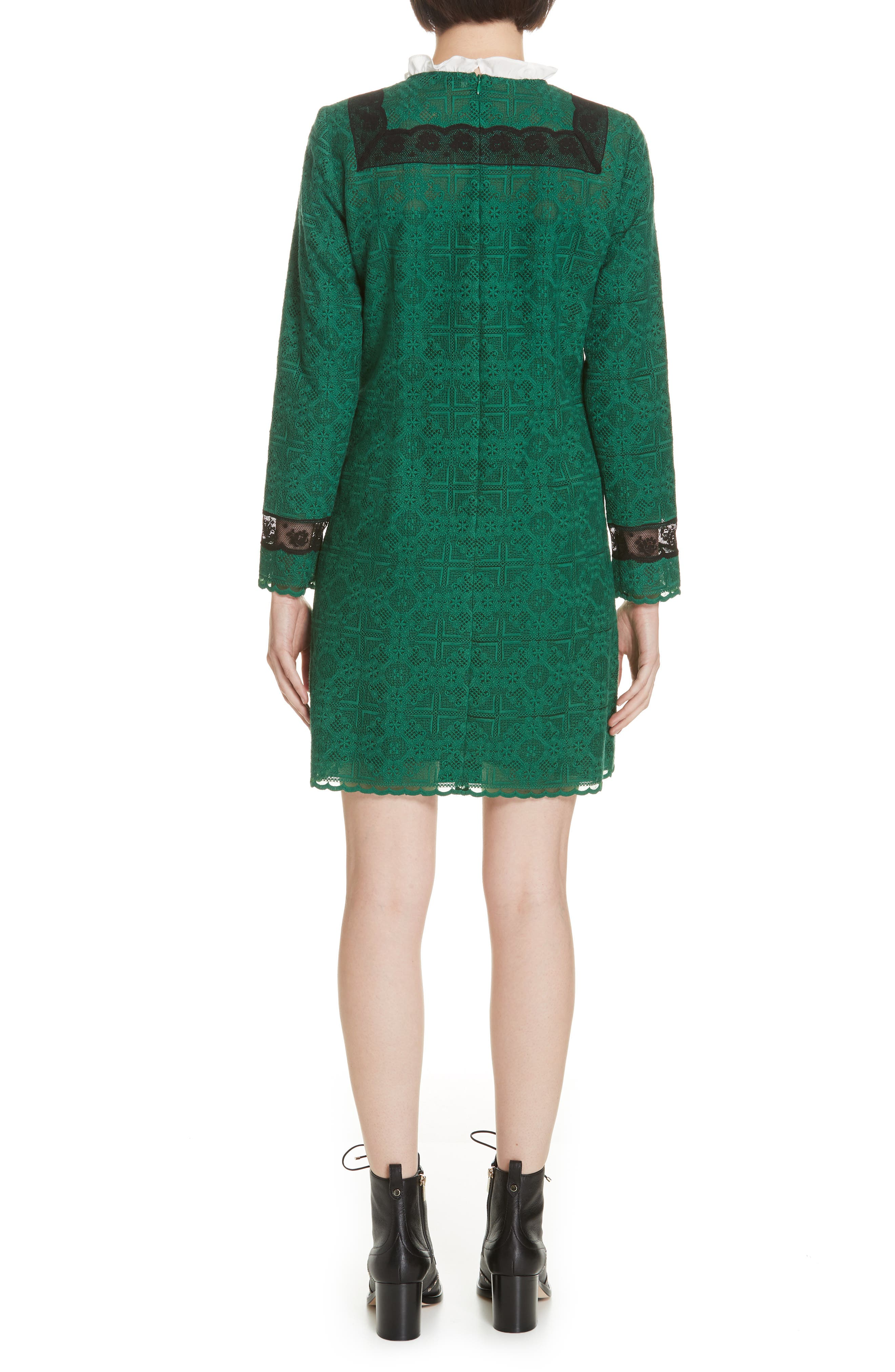 Dylan Frill Neck Lace Dress,                             Alternate thumbnail 2, color,                             VERT