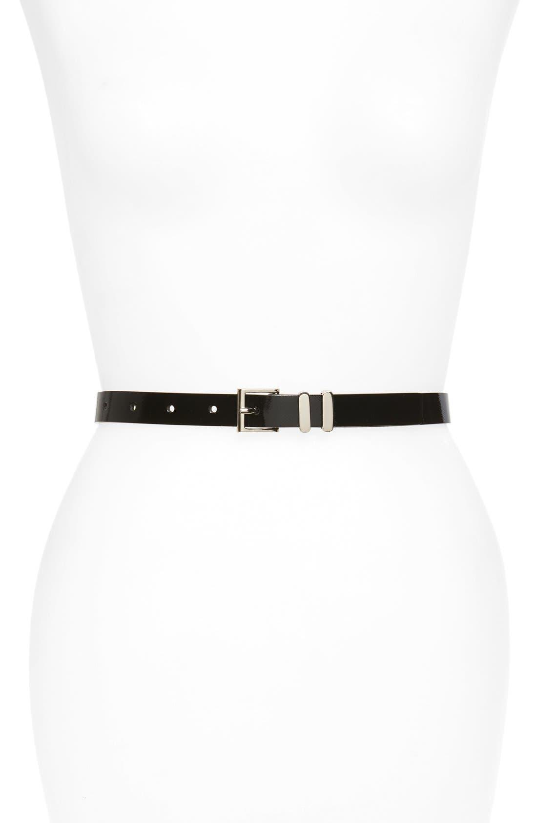 Faux Leather Belt,                             Main thumbnail 1, color,                             BLACK