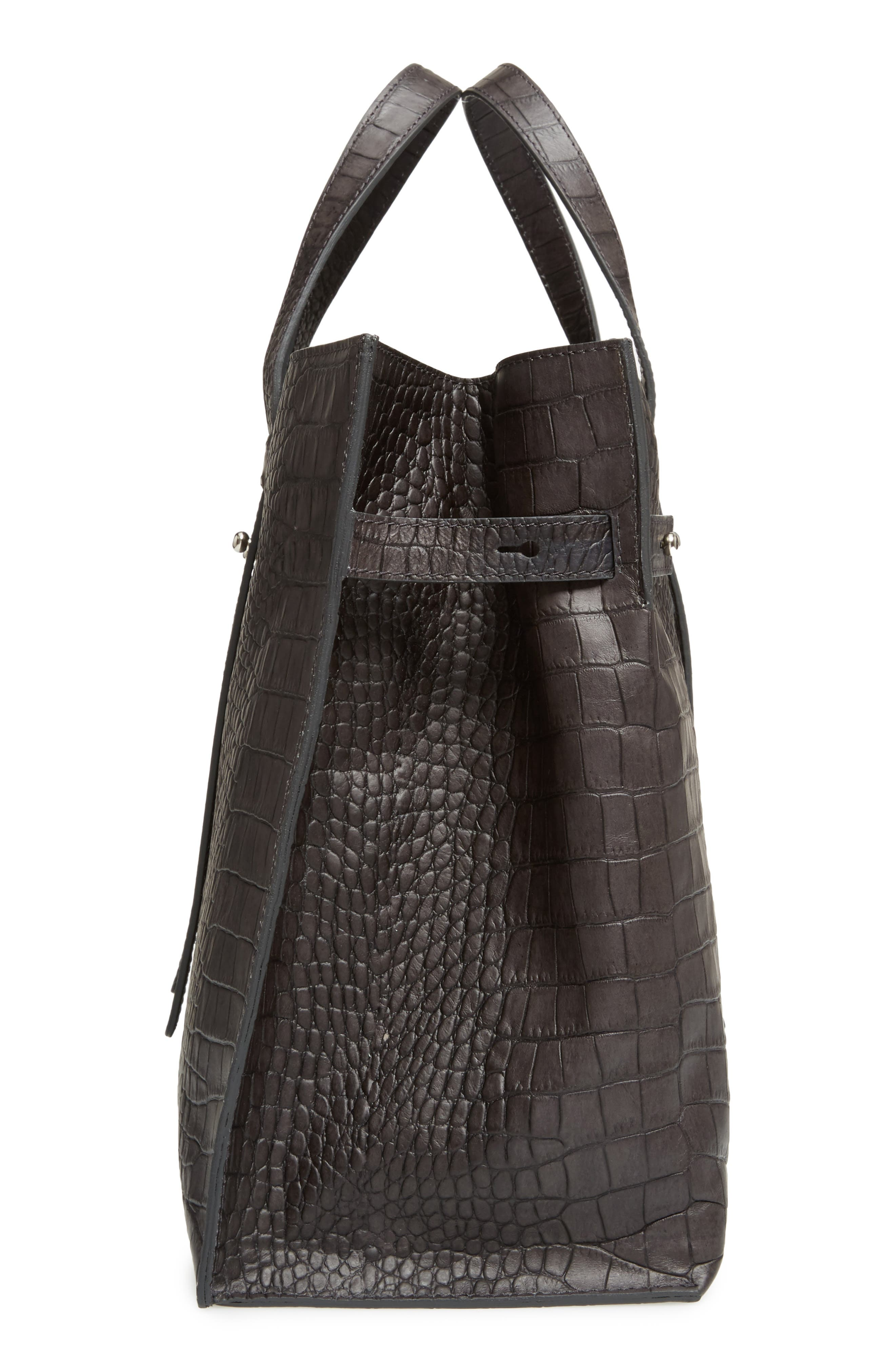 Petra Croc-Embossed Calfskin Leather Tote,                             Alternate thumbnail 5, color,                             020