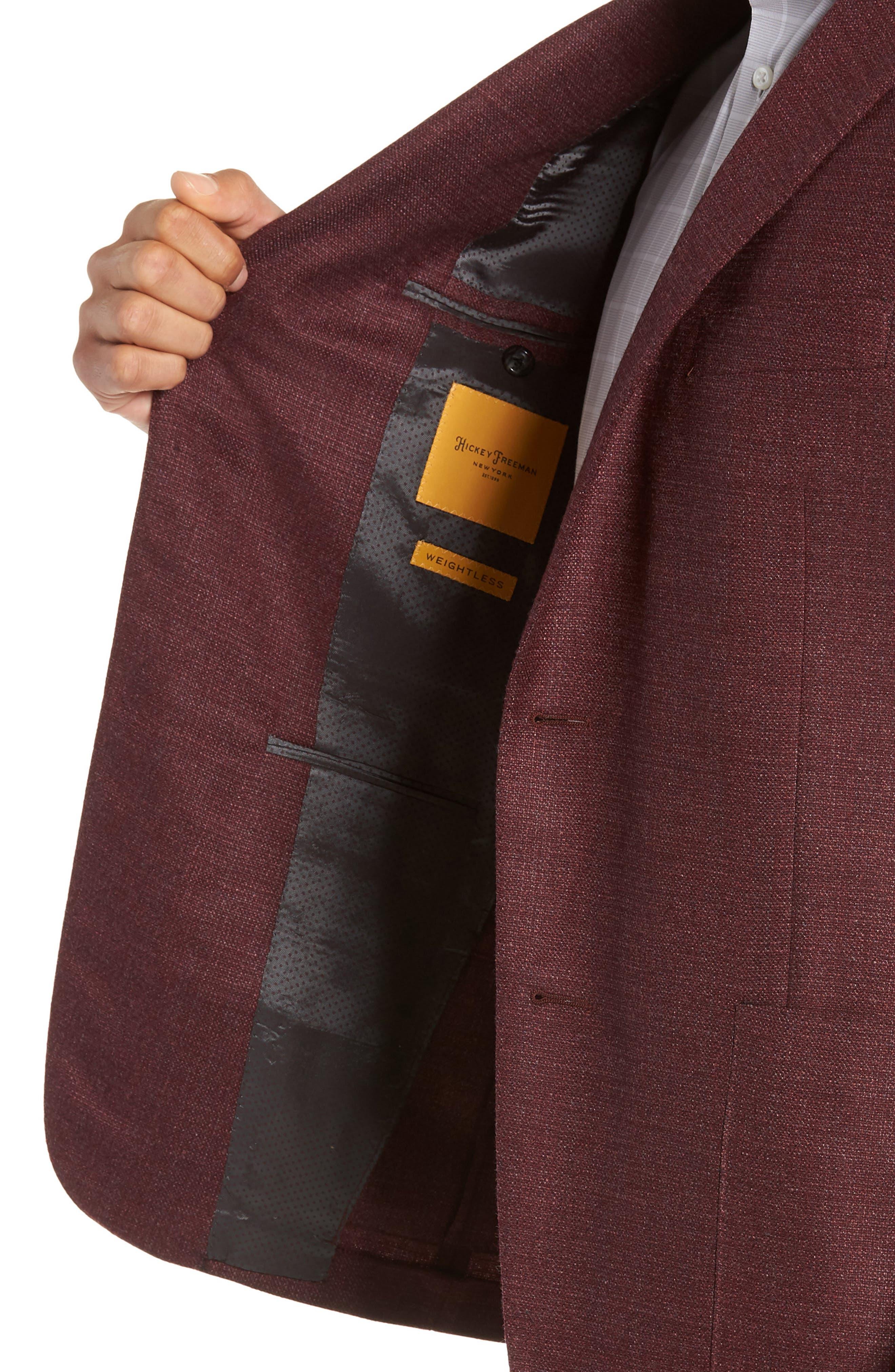 Weightless Classic Fit Wool & Silk Sport Coat,                             Alternate thumbnail 4, color,                             BURGUNDY
