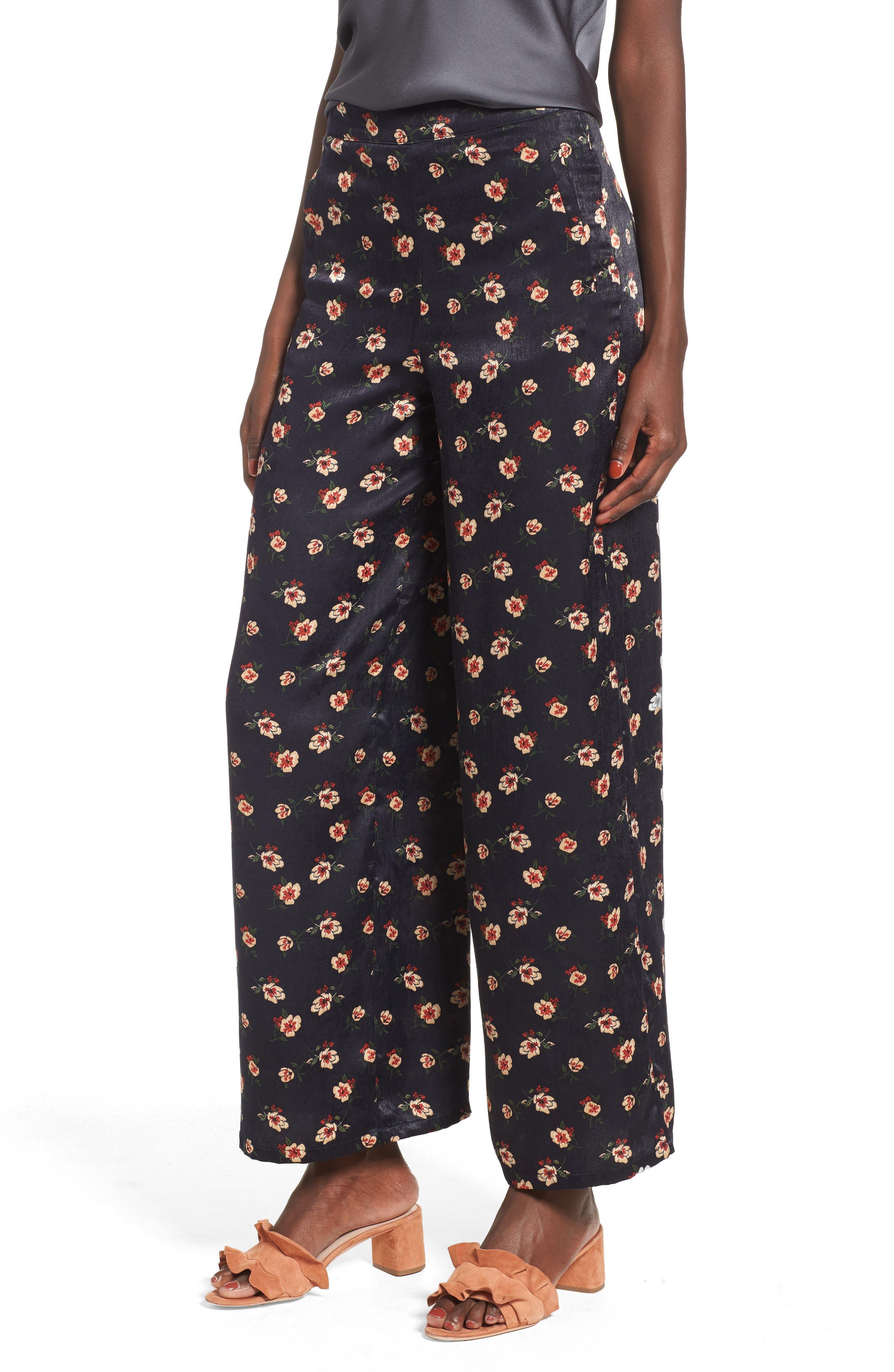 Floral Wide Leg Pants,                         Main,                         color, 498