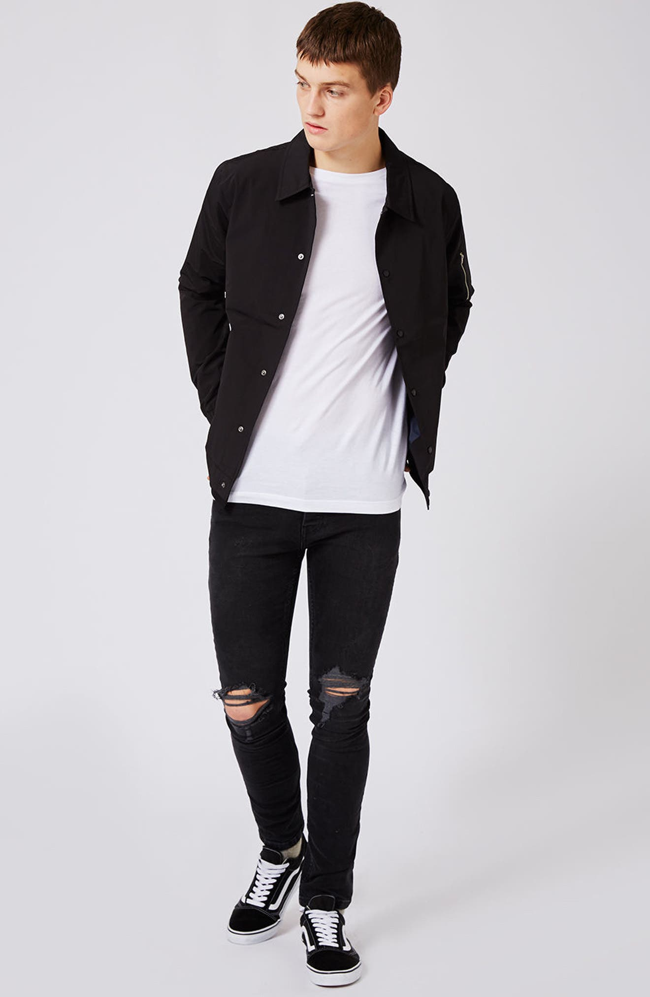 Ripped Skinny Fit Jeans,                             Alternate thumbnail 6, color,                             001
