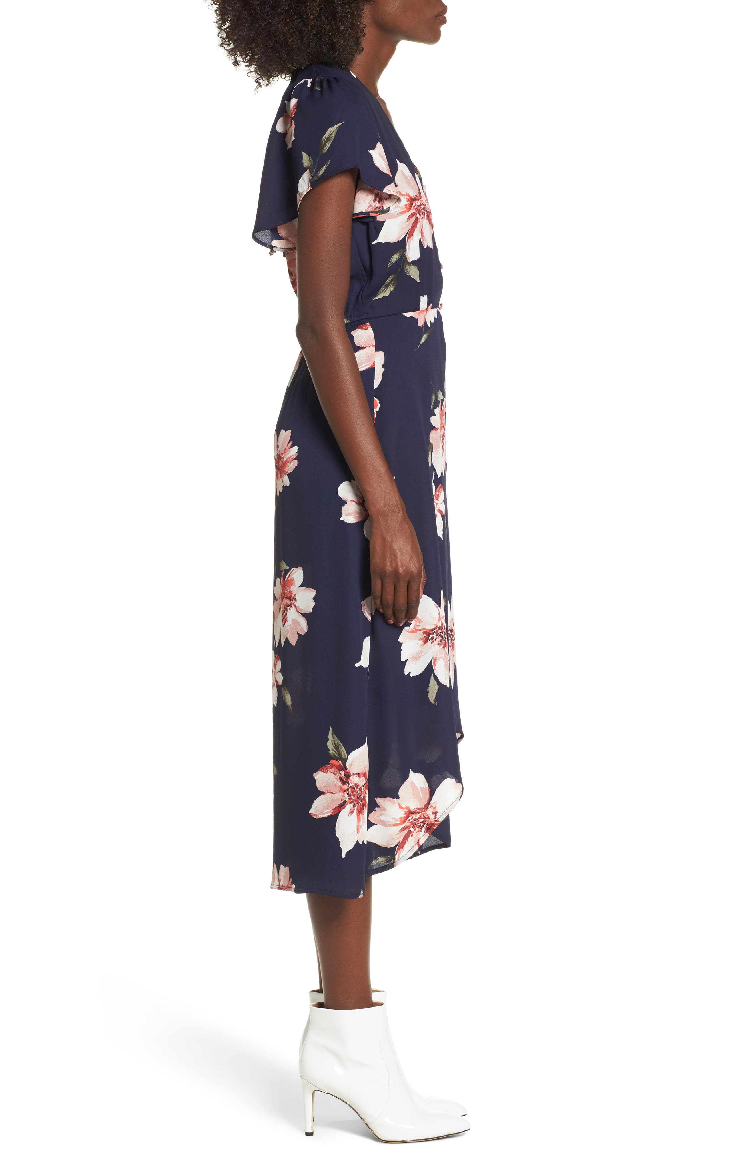Floral Print Midi Romper,                             Alternate thumbnail 3, color,                             410