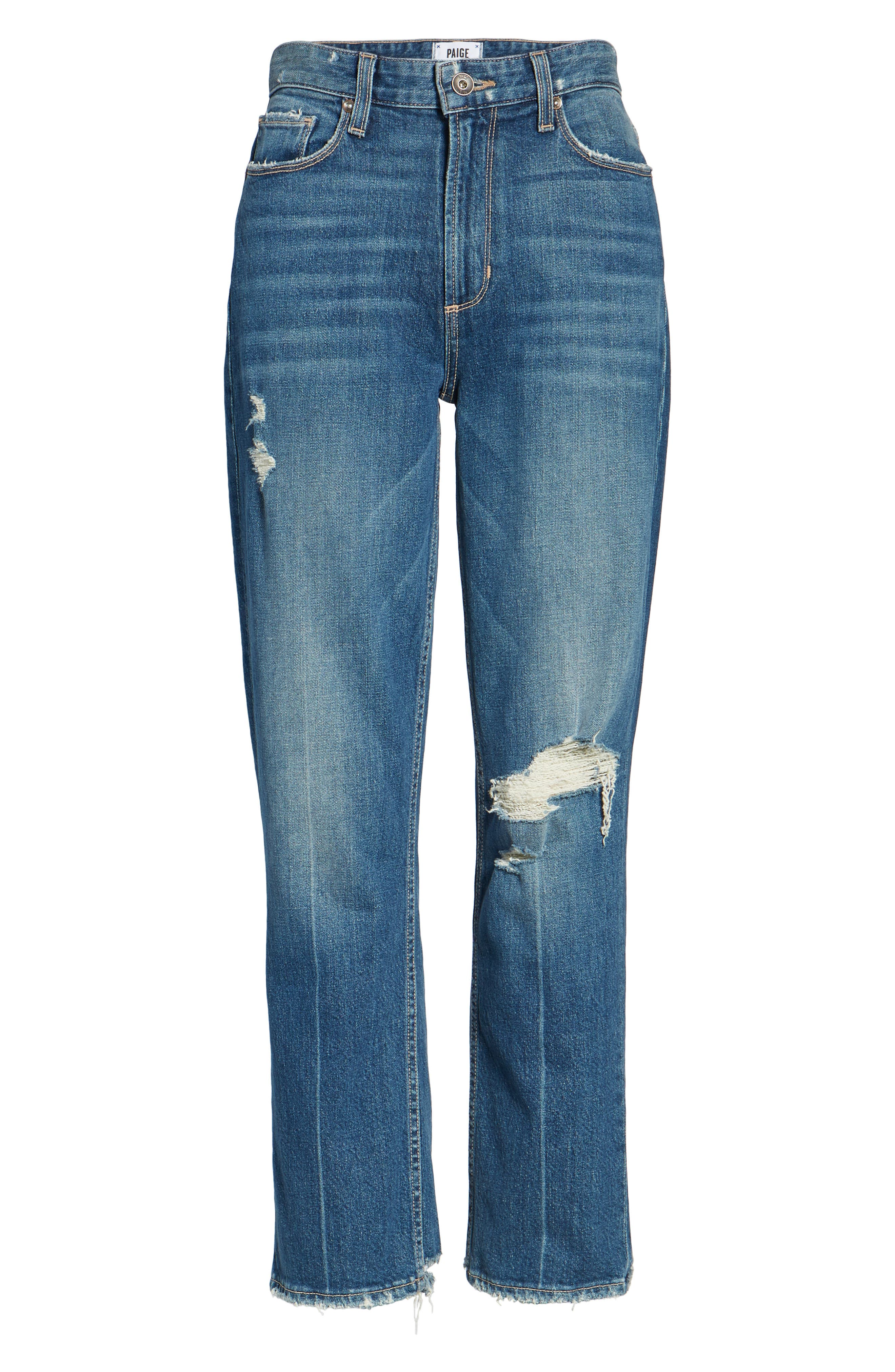 Vintage - Sarah High Waist Crop Straight Leg Jeans,                             Alternate thumbnail 6, color,                             400