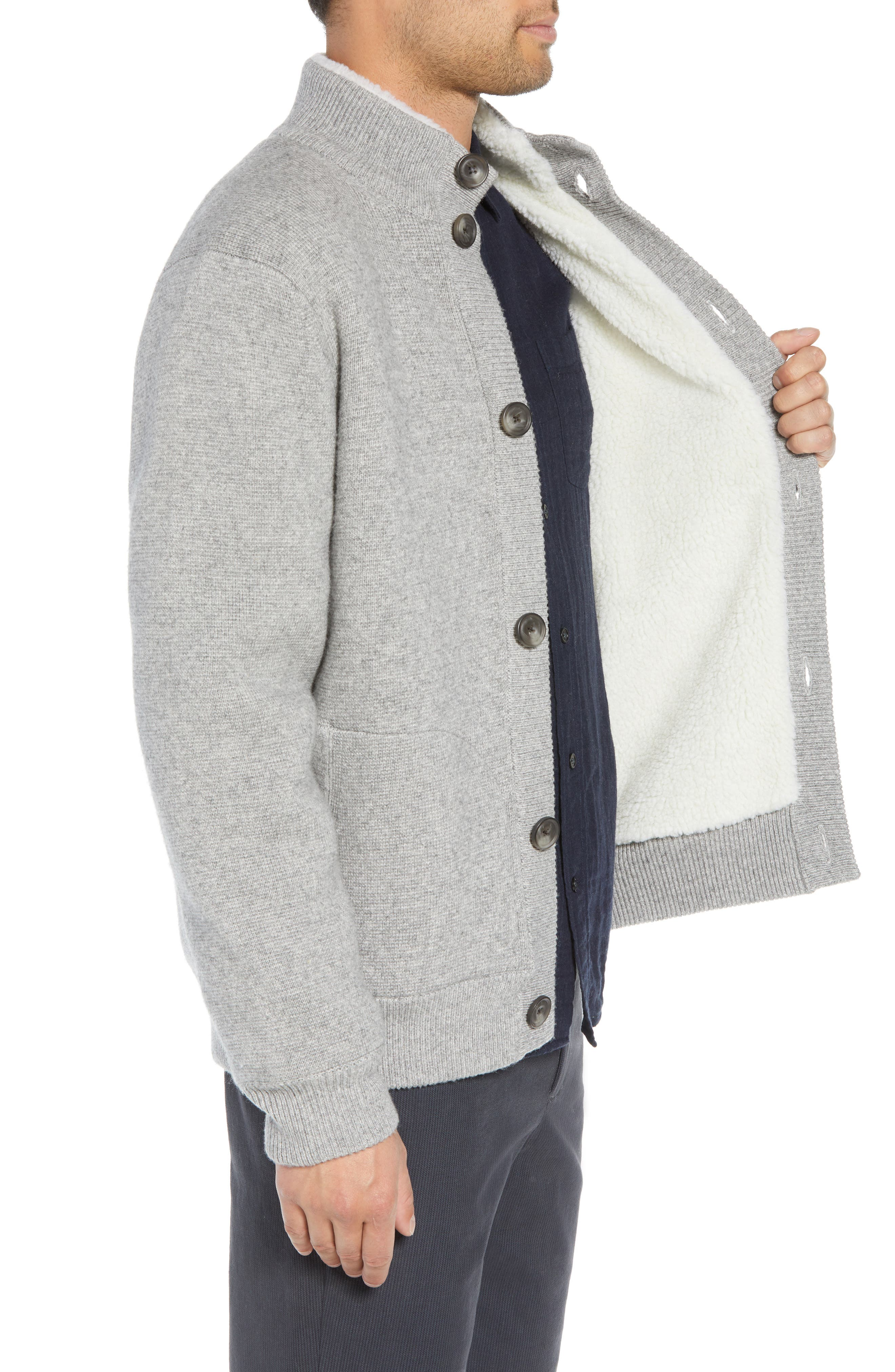 Regular Fit Wool Sweater with Faux Fur Lining,                             Alternate thumbnail 3, color,                             H GREY