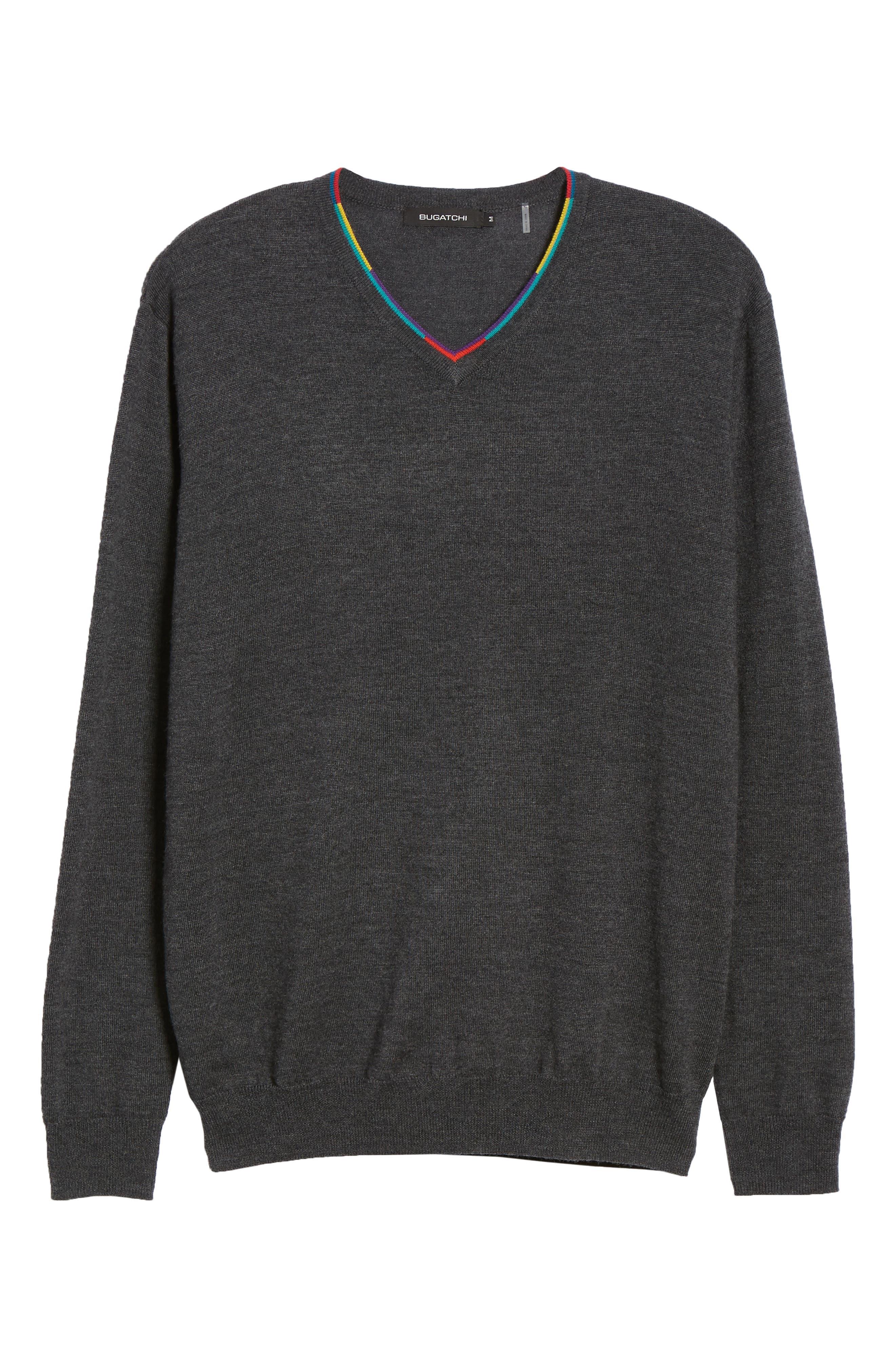 V-Neck Merino Wool Sweater,                             Alternate thumbnail 6, color,                             CHARCOAL
