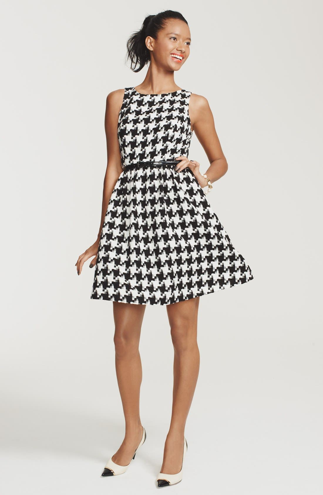 Houndstooth Jacquard Fit & Flare Dress,                             Alternate thumbnail 4, color,
