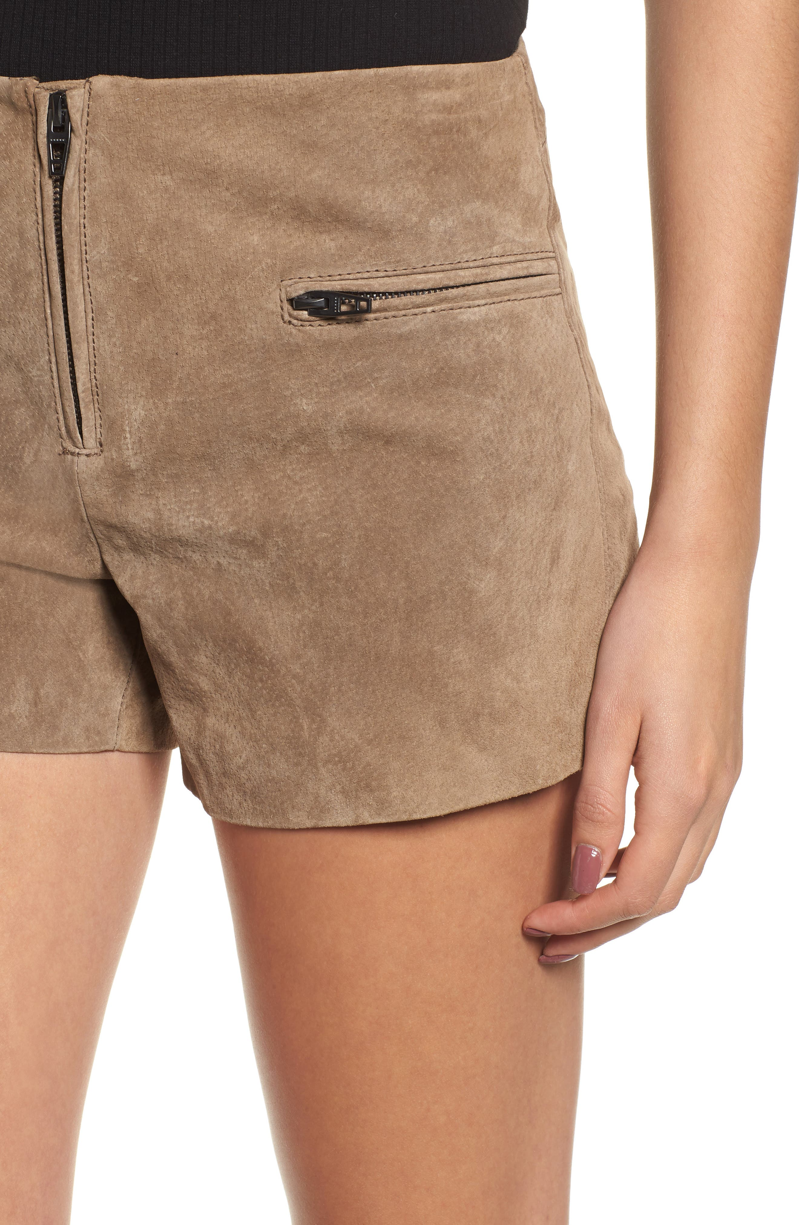 Suede Shorts,                             Alternate thumbnail 4, color,                             MIDNIGHT TOKER