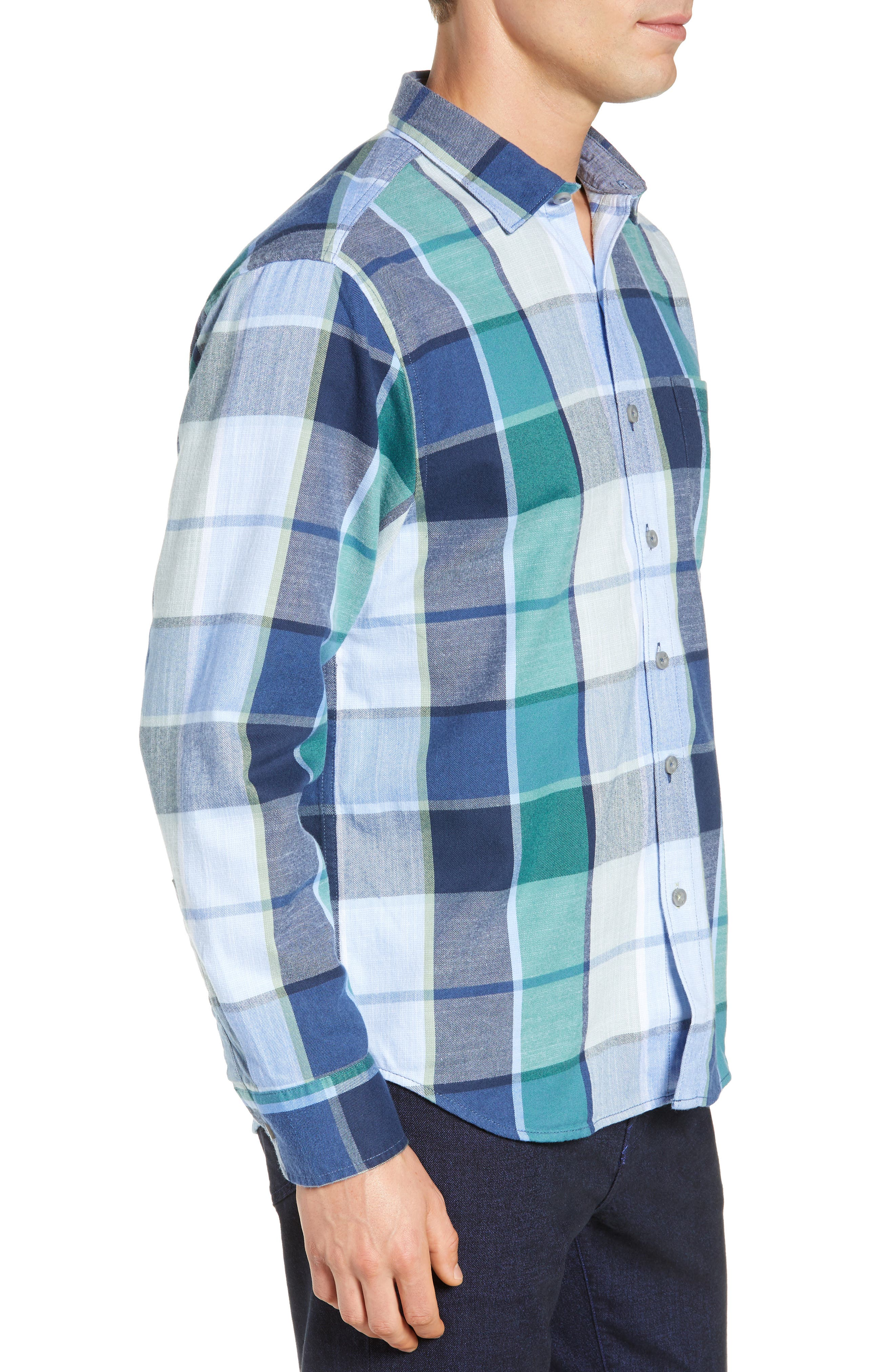 Heredia Plaid Sport Shirt,                             Alternate thumbnail 4, color,                             ZEPHYR BLUE