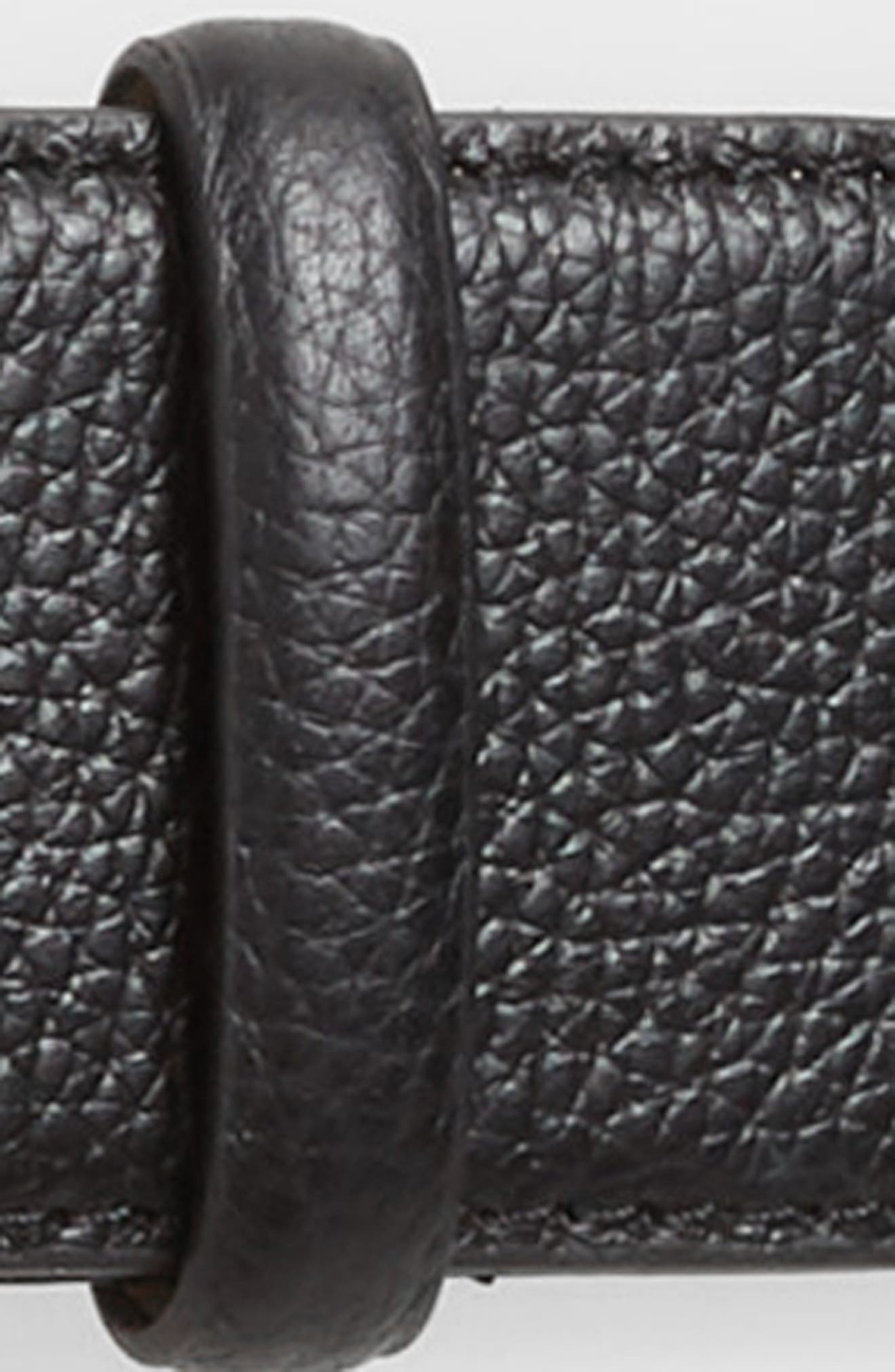 Calfskin Leather Belt,                             Alternate thumbnail 3, color,                             BLACK / POL NICKEL