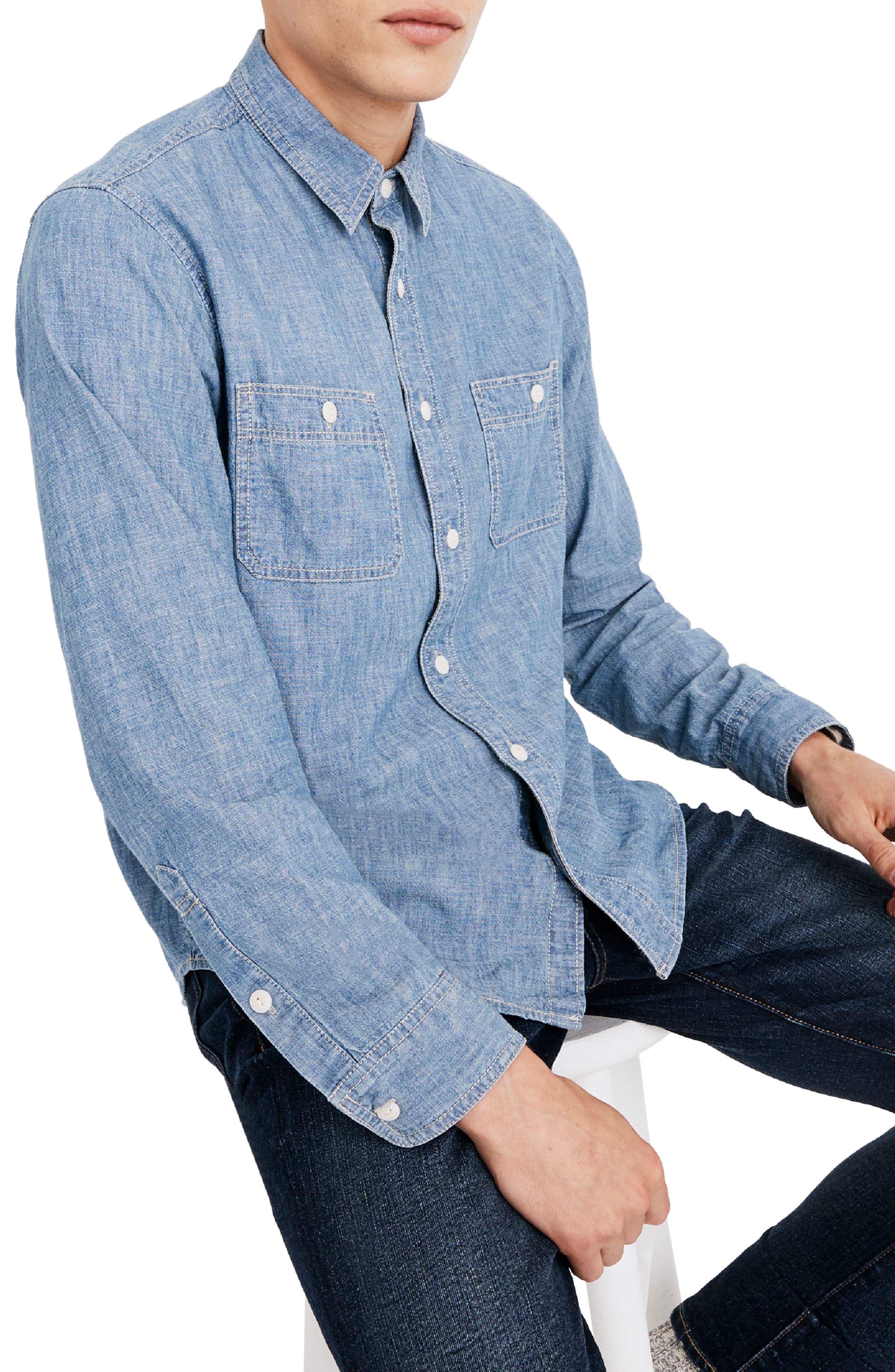 Classic Button Down Shirt,                         Main,                         color, LESSING WASH