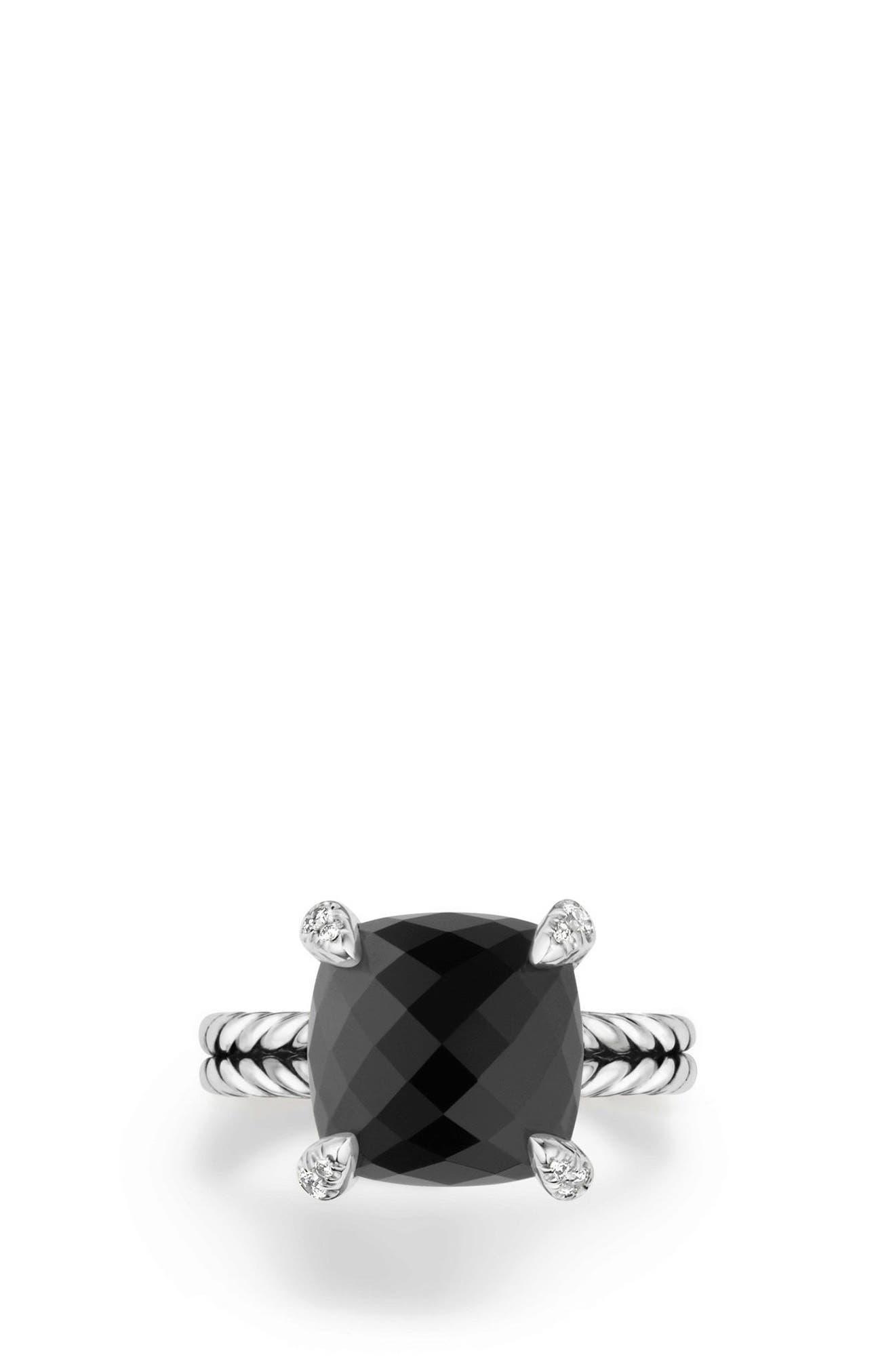 Châtelaine Ring with Semiprecious Stone & Diamonds,                             Alternate thumbnail 3, color,                             BLACK ONYX?