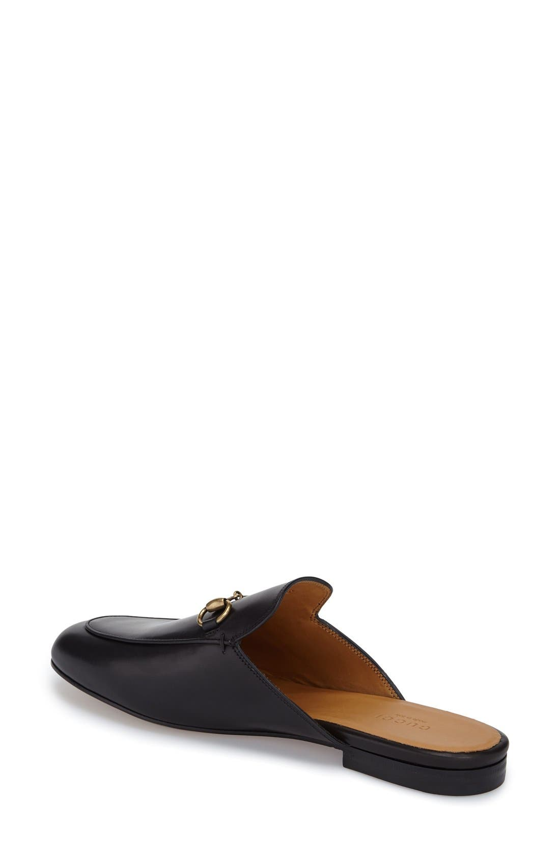 Princetown Loafer Mule,                             Alternate thumbnail 3, color,                             BLACK LEATHER