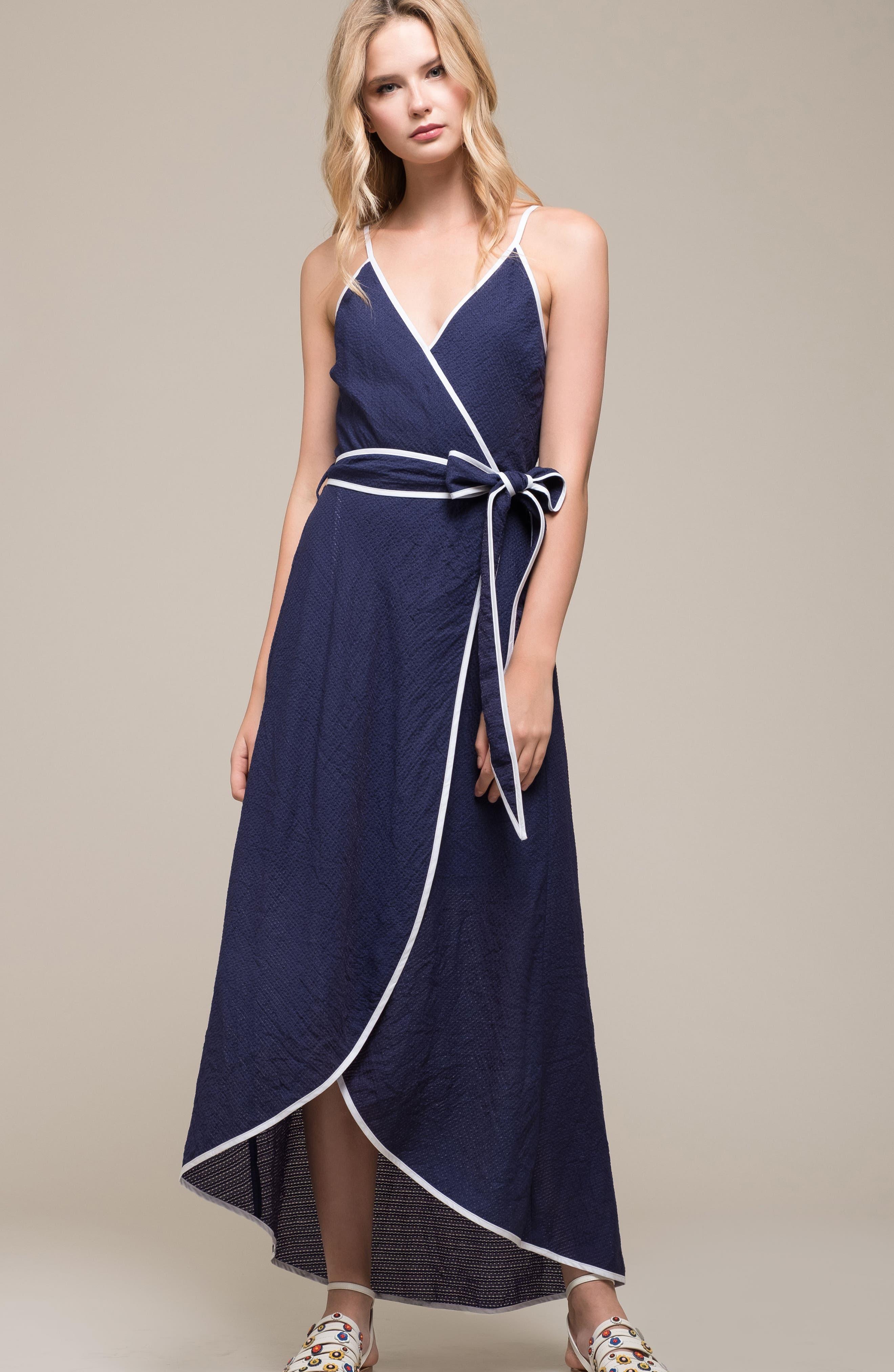 Midi Wrap Style Dress,                             Alternate thumbnail 7, color,