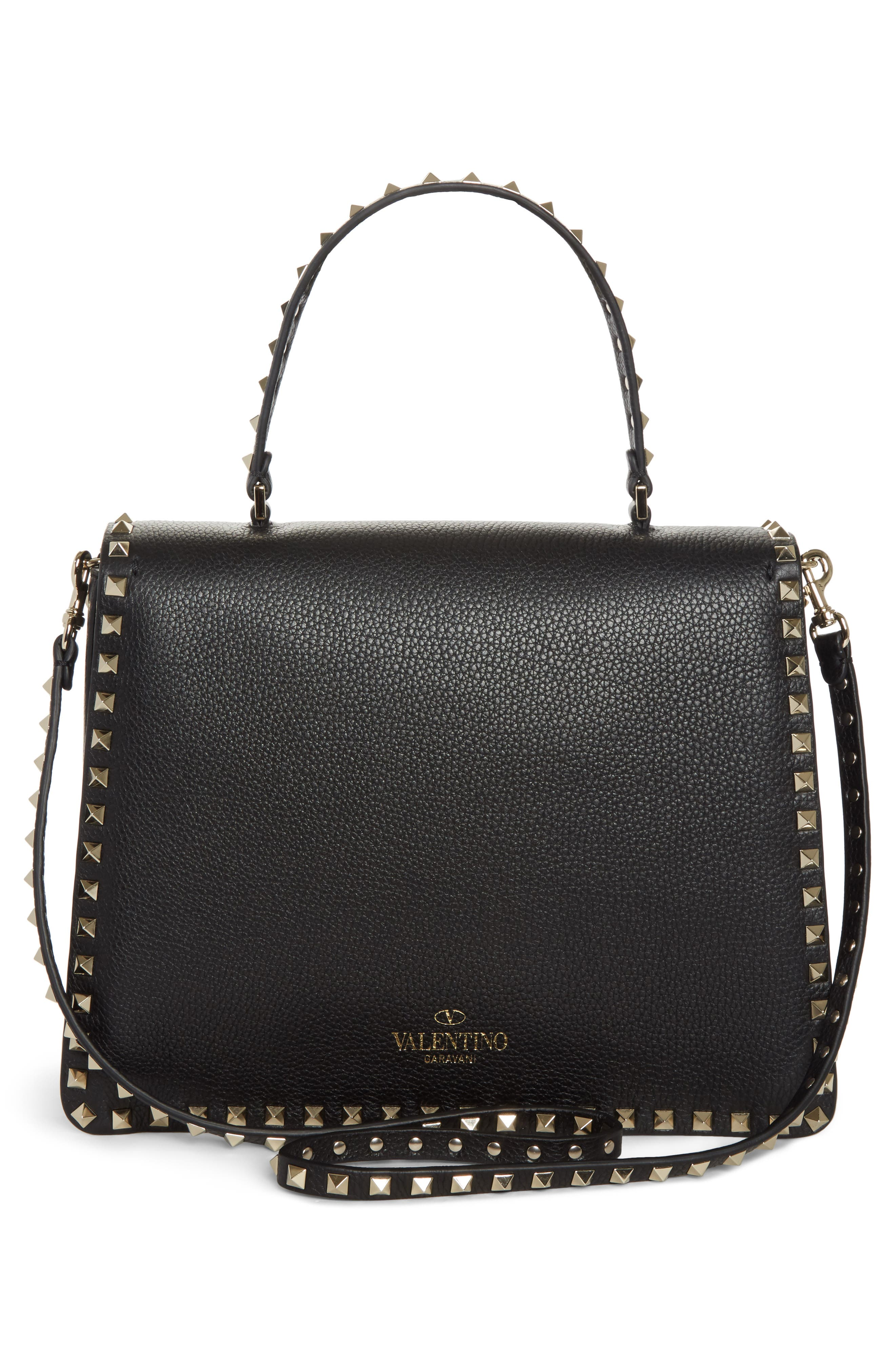 Rockstud Leather Top Handle Shoulder Bag,                             Alternate thumbnail 3, color,                             001