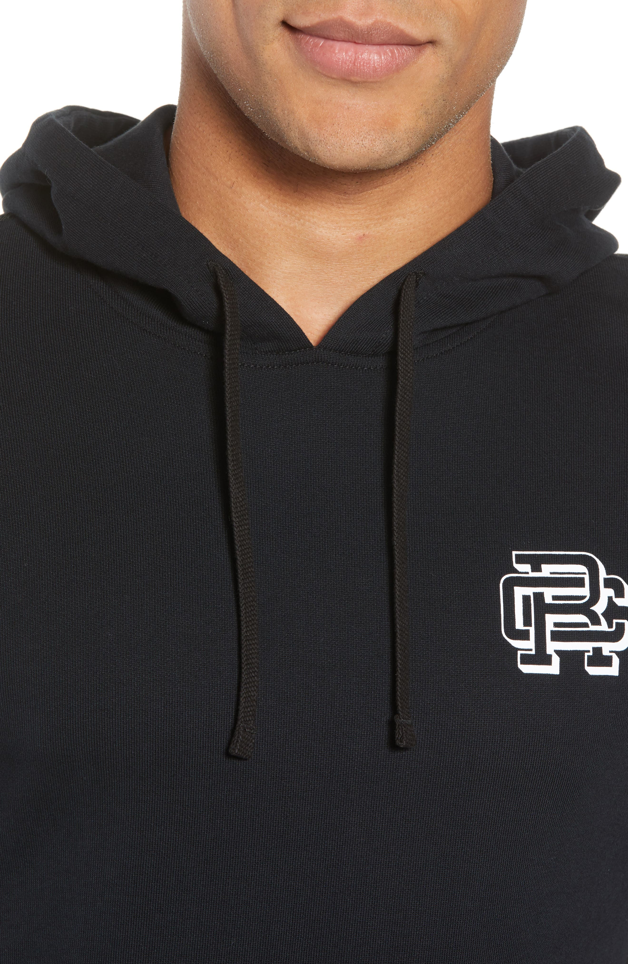 Classic Fit Hooded Pullover,                             Alternate thumbnail 4, color,                             BLACK