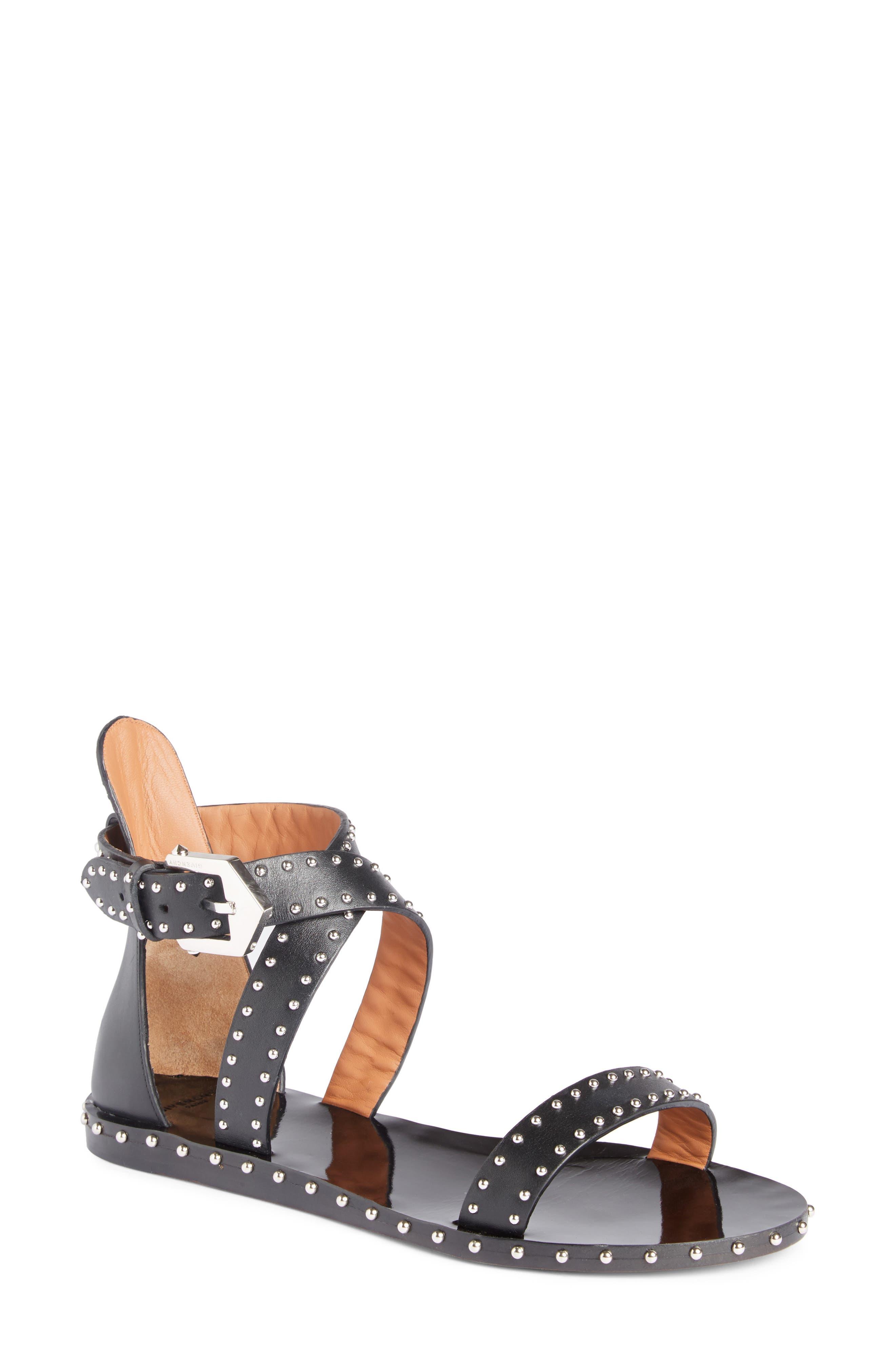 Elegant Strappy Studded Sandal,                             Main thumbnail 1, color,                             001