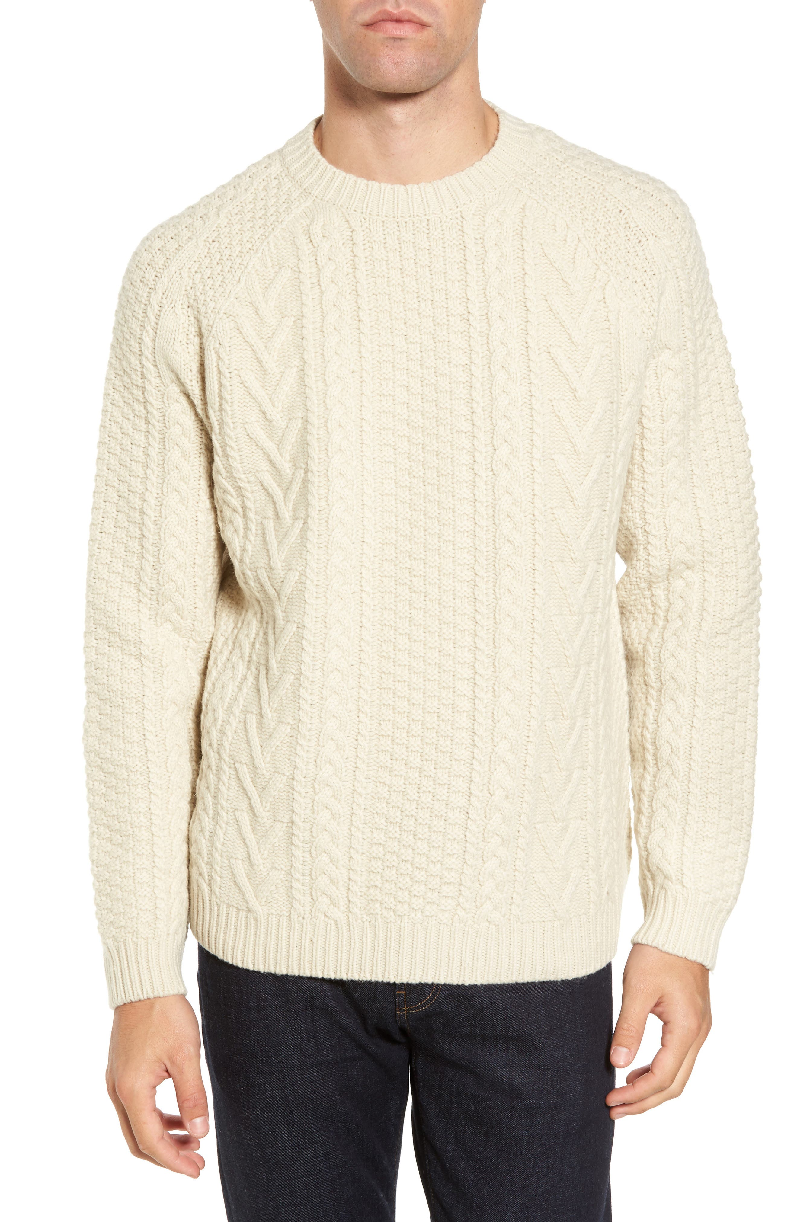 Fisherman Knit Wool Blend Sweater,                             Main thumbnail 1, color,                             OFF WHITE