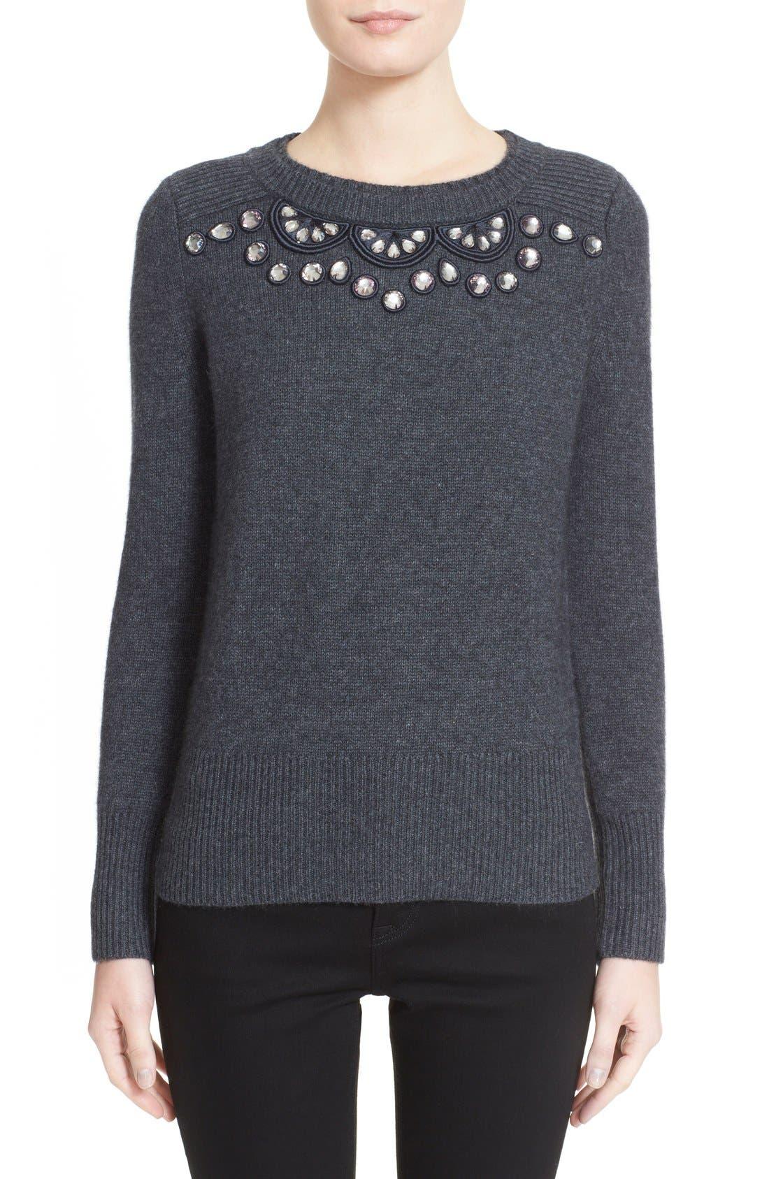 BURBERRY LONDON Embellished Crewneck Sweater, Main, color, 026