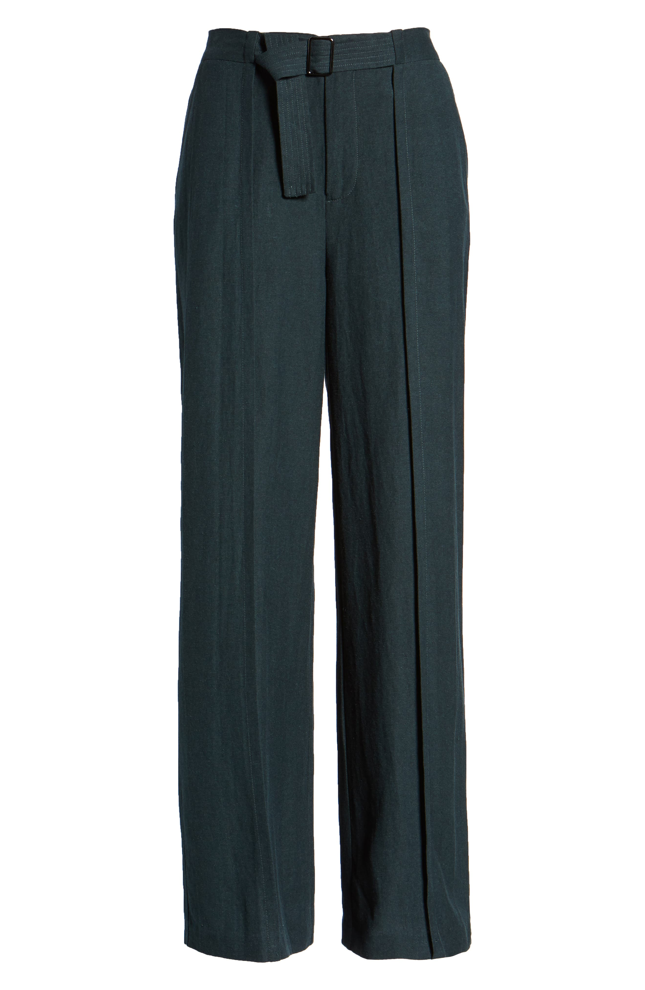 Belted High Waist Pants,                             Alternate thumbnail 6, color,                             FOREST
