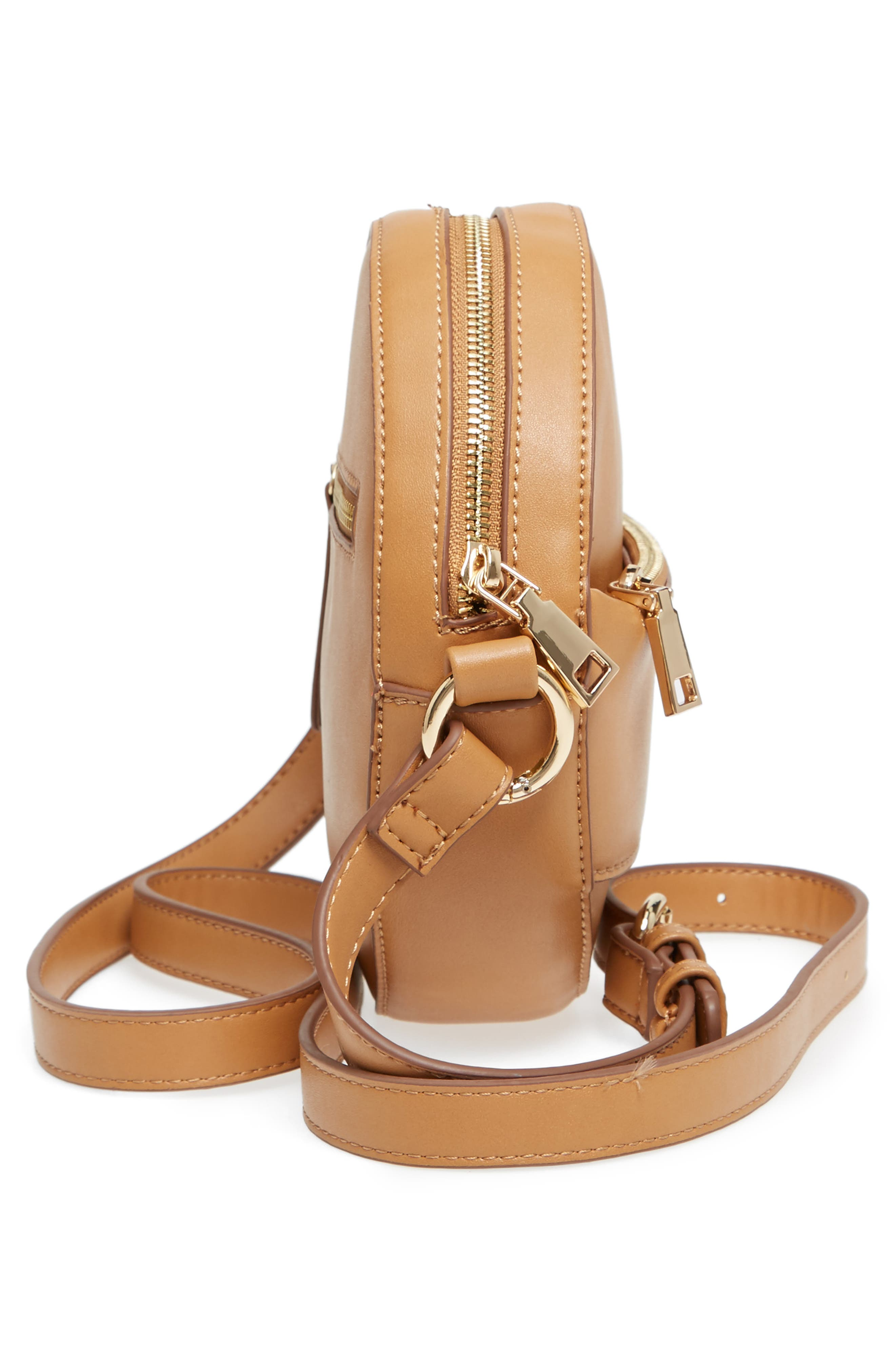 Faux Leather Canteen Crossbody Bag,                             Alternate thumbnail 5, color,                             CAMEL