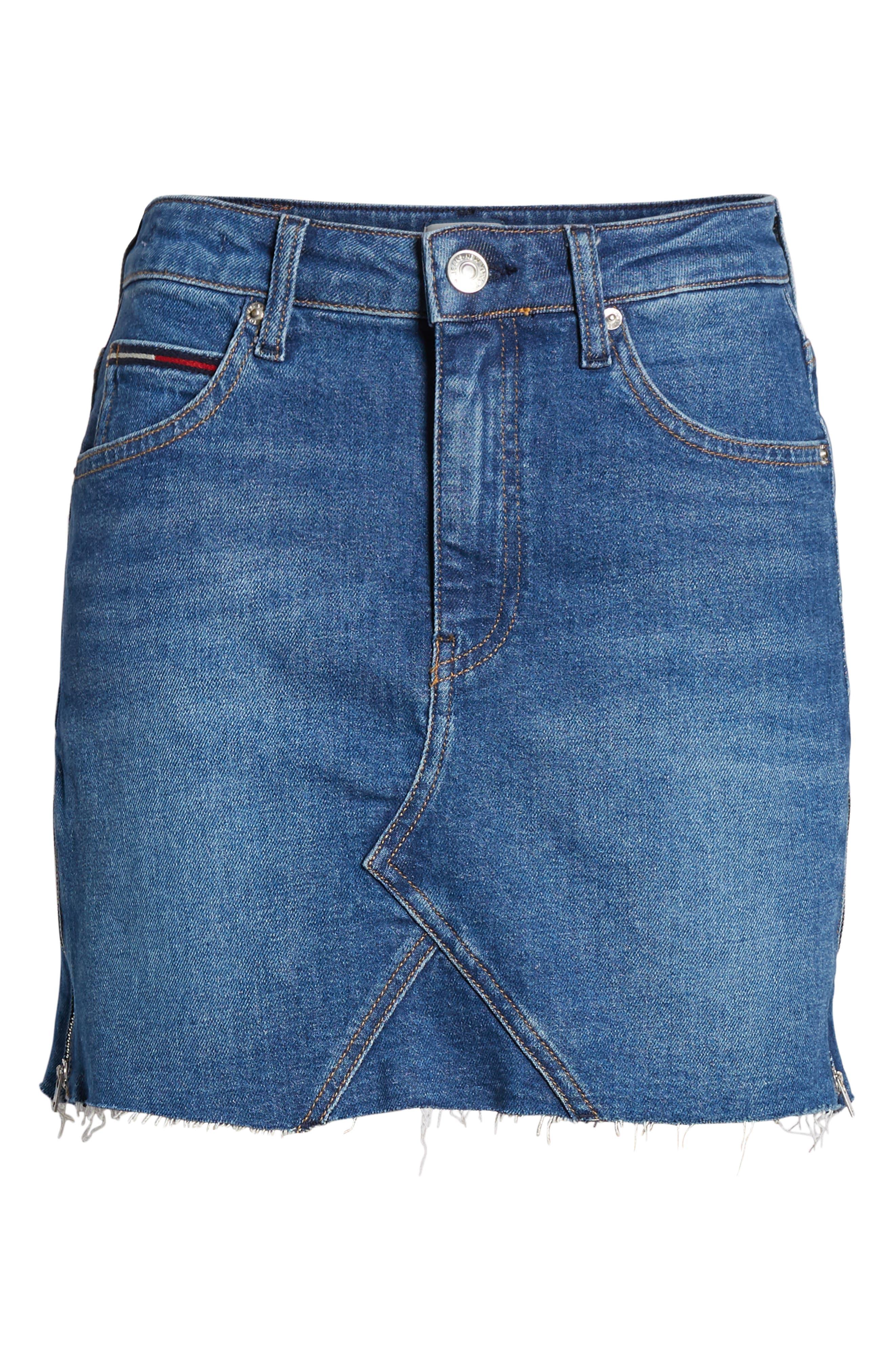 Denim Skirt,                             Alternate thumbnail 7, color,                             BIKER MID BLUE COMFORT