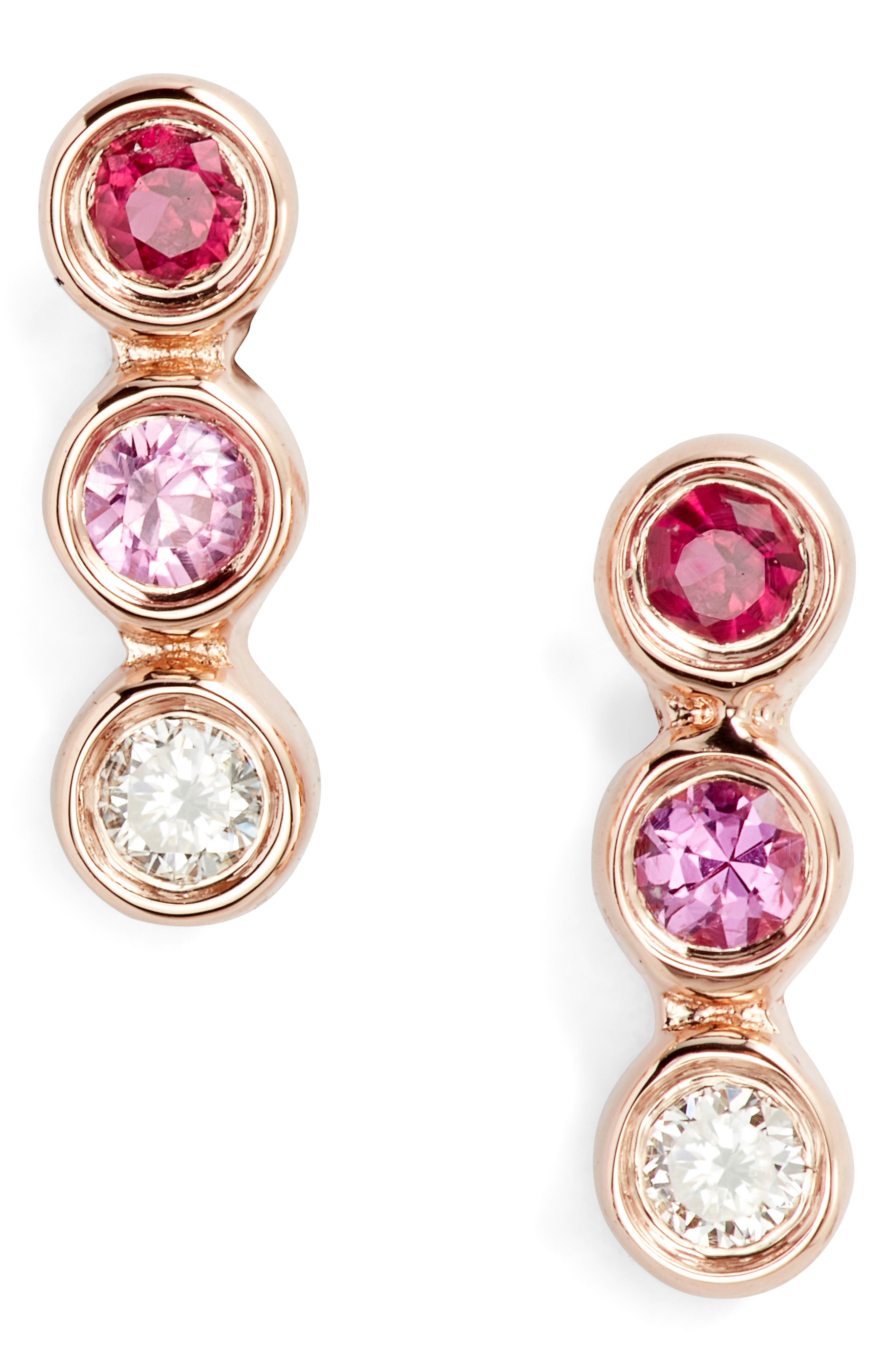 Diamond & Pink Sapphire Trio Bezel Stud Earrings, Main, color, YELLOW GOLD/ PINK TONES