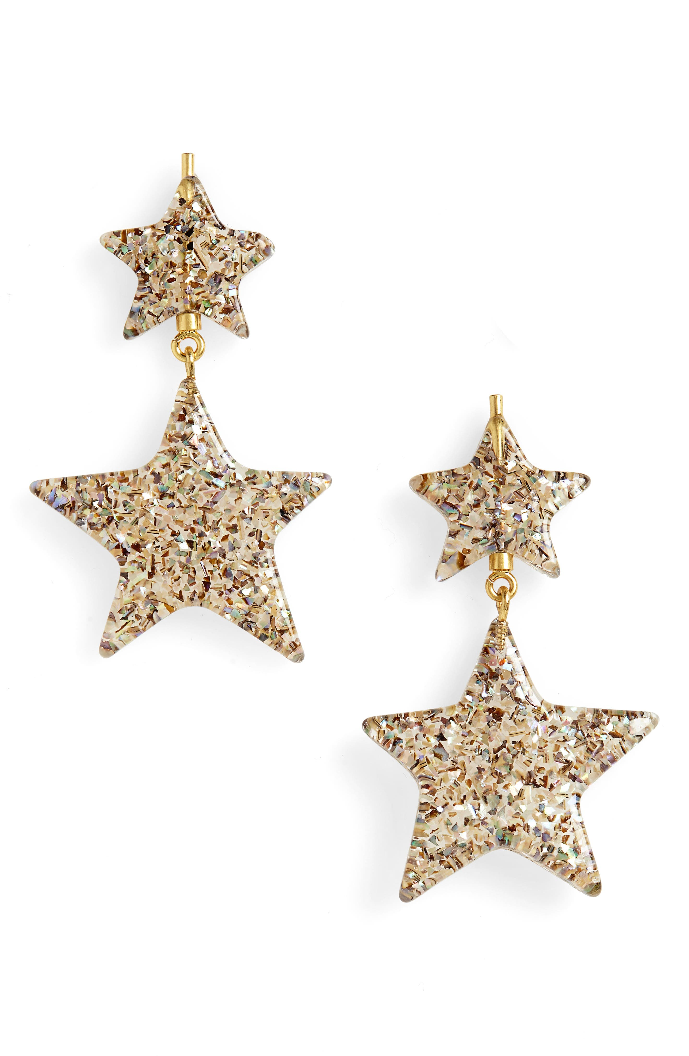 Glitter Star Statement Earrings,                             Main thumbnail 1, color,                             IRIDESCENT