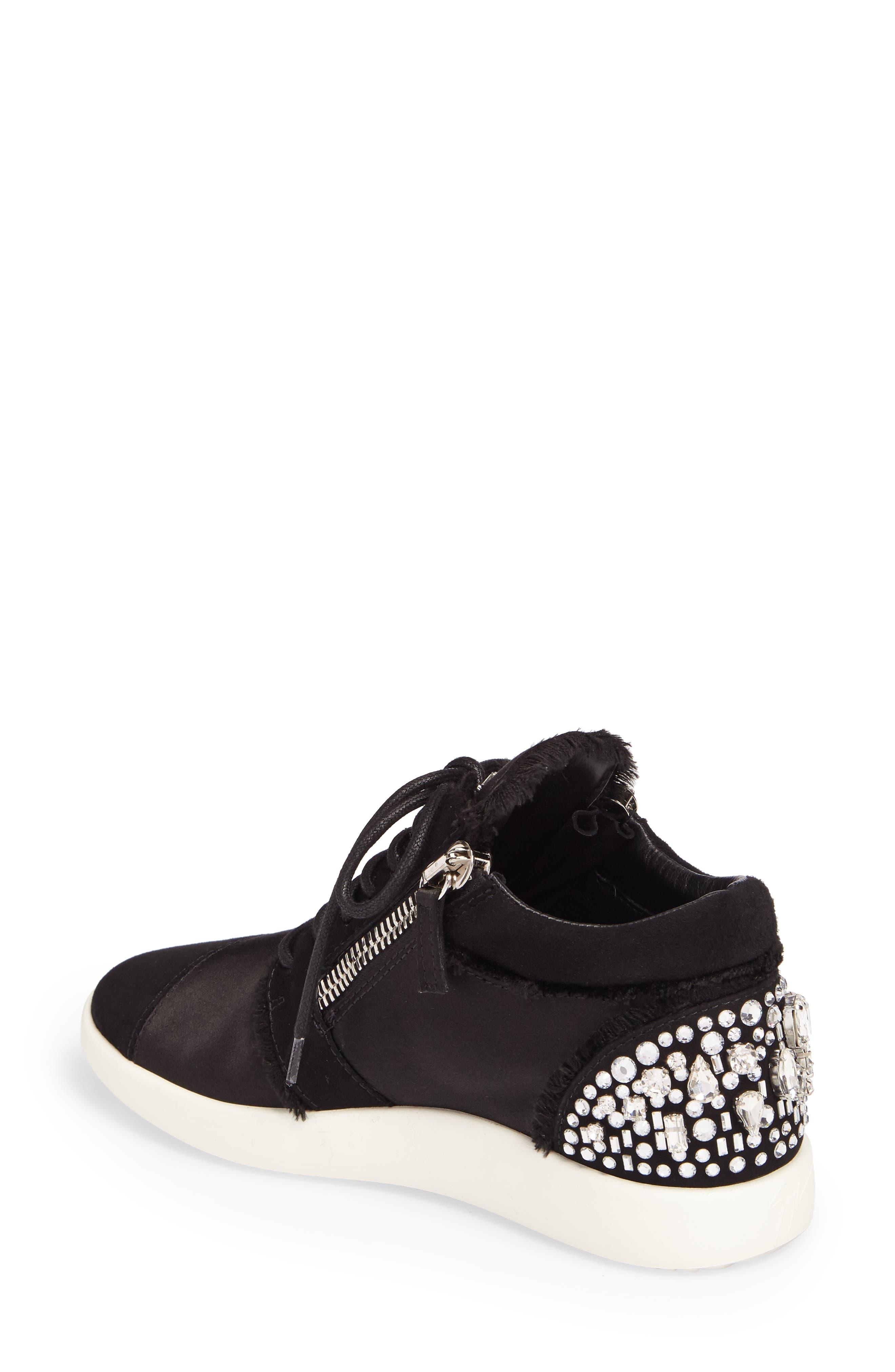 GIUSEPPE ZANOTTI,                             Swarovski Crystal Embellished Sneaker,                             Alternate thumbnail 2, color,                             001