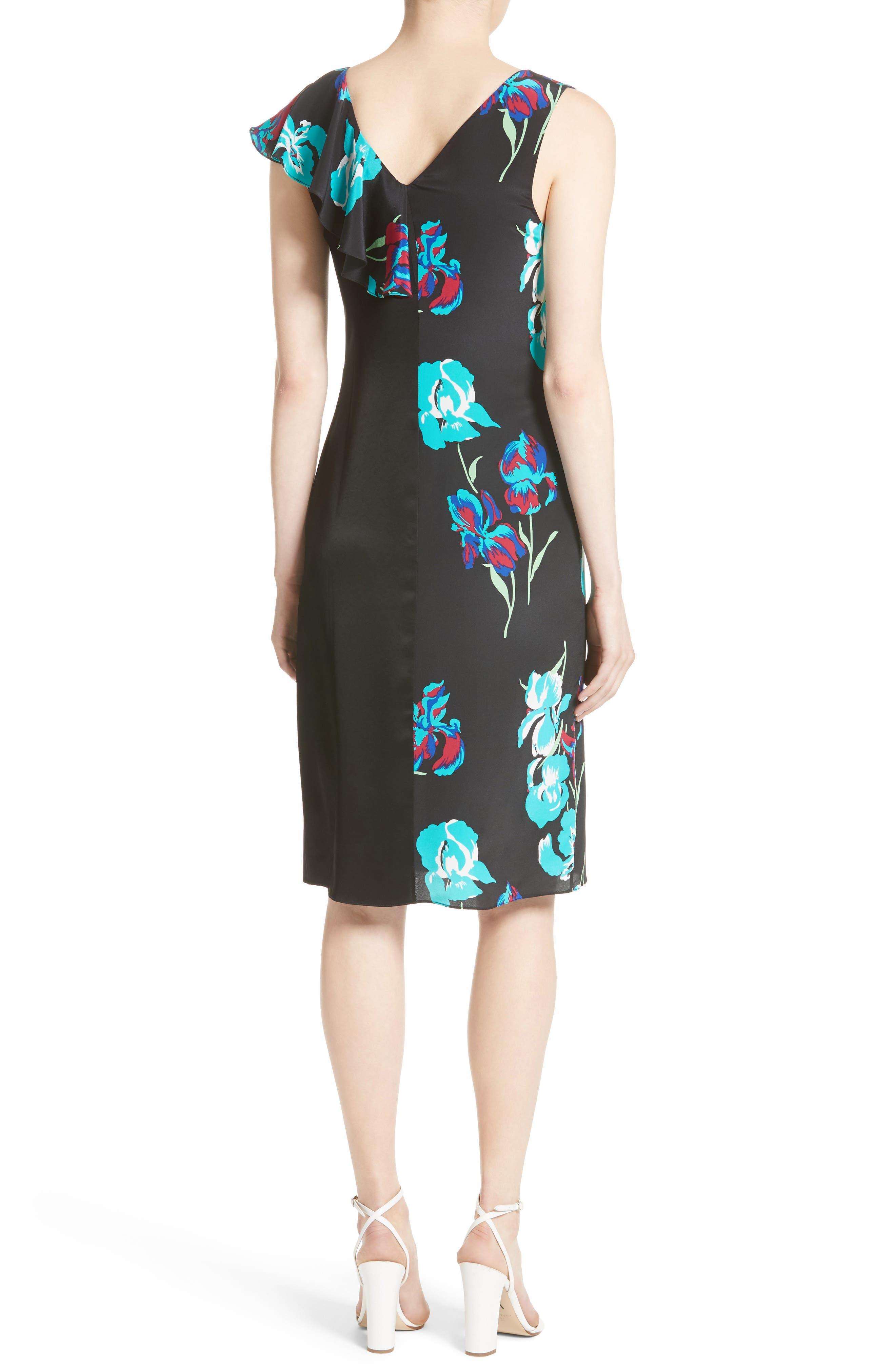 Silk Side Ruffle Sheath Dress,                             Alternate thumbnail 2, color,                             004