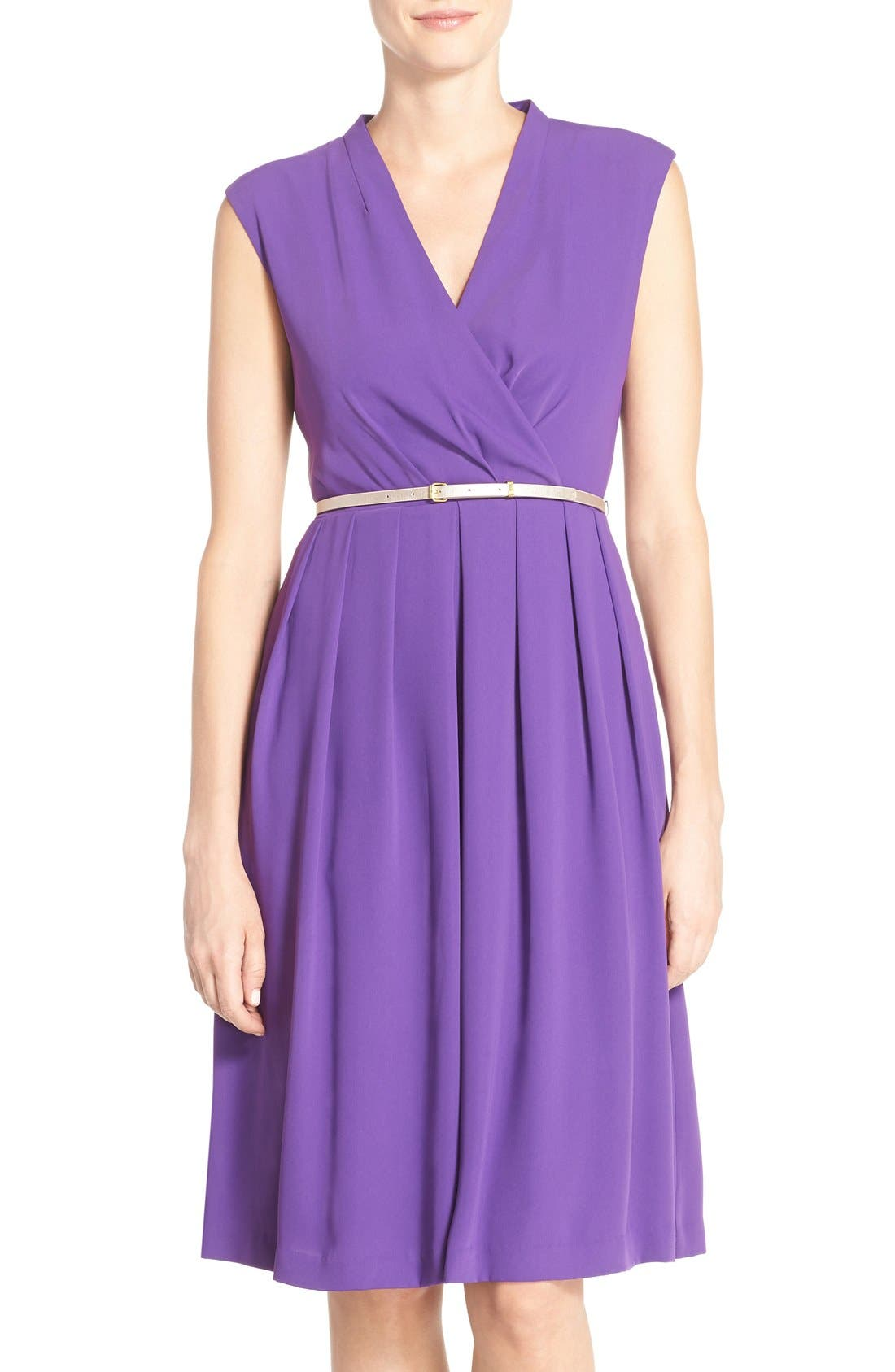 Belted Woven Fit & Flare Dress,                             Main thumbnail 3, color,