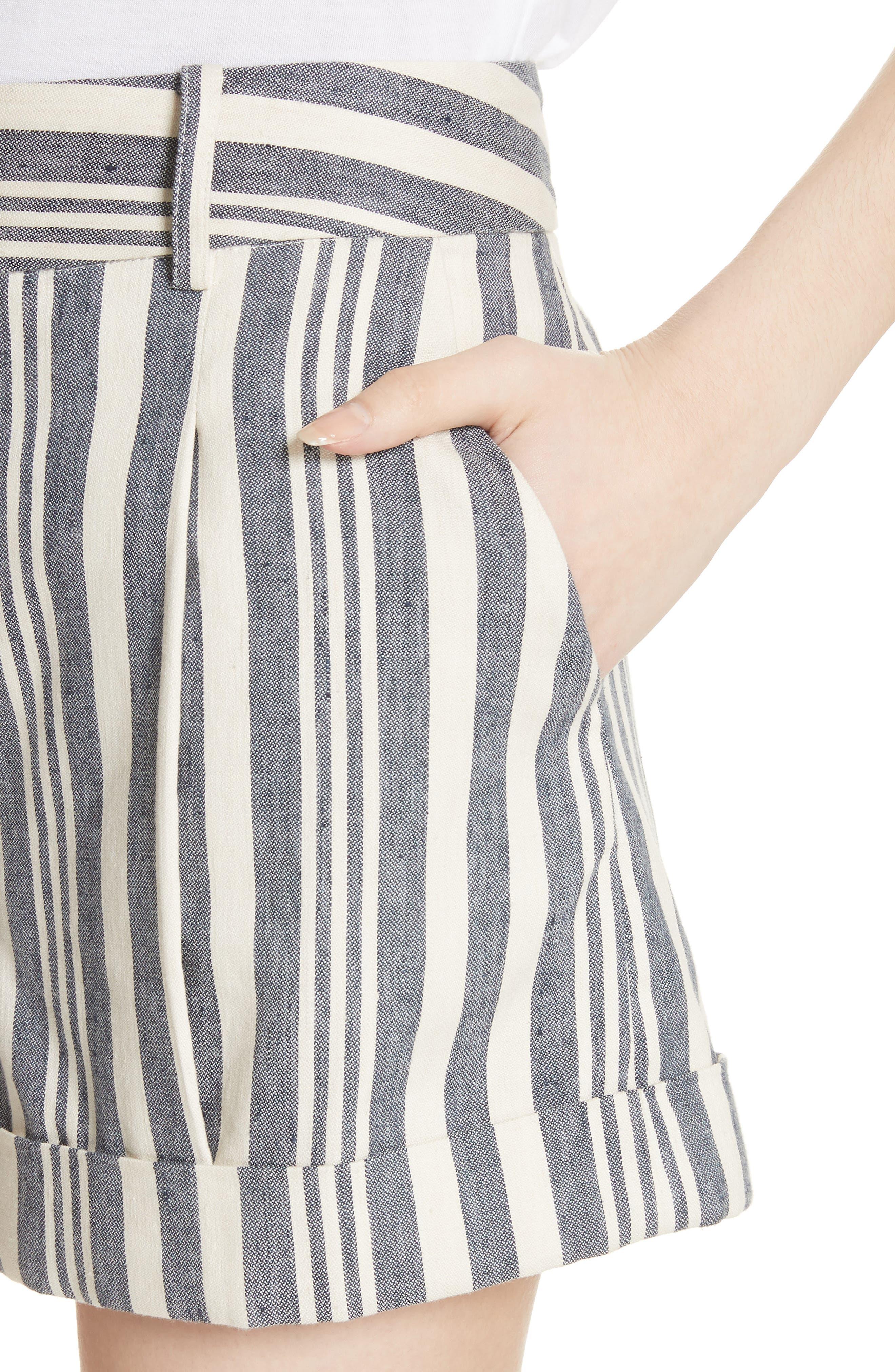 Carito Stripe Linen & Cotton Shorts,                             Alternate thumbnail 4, color,                             413