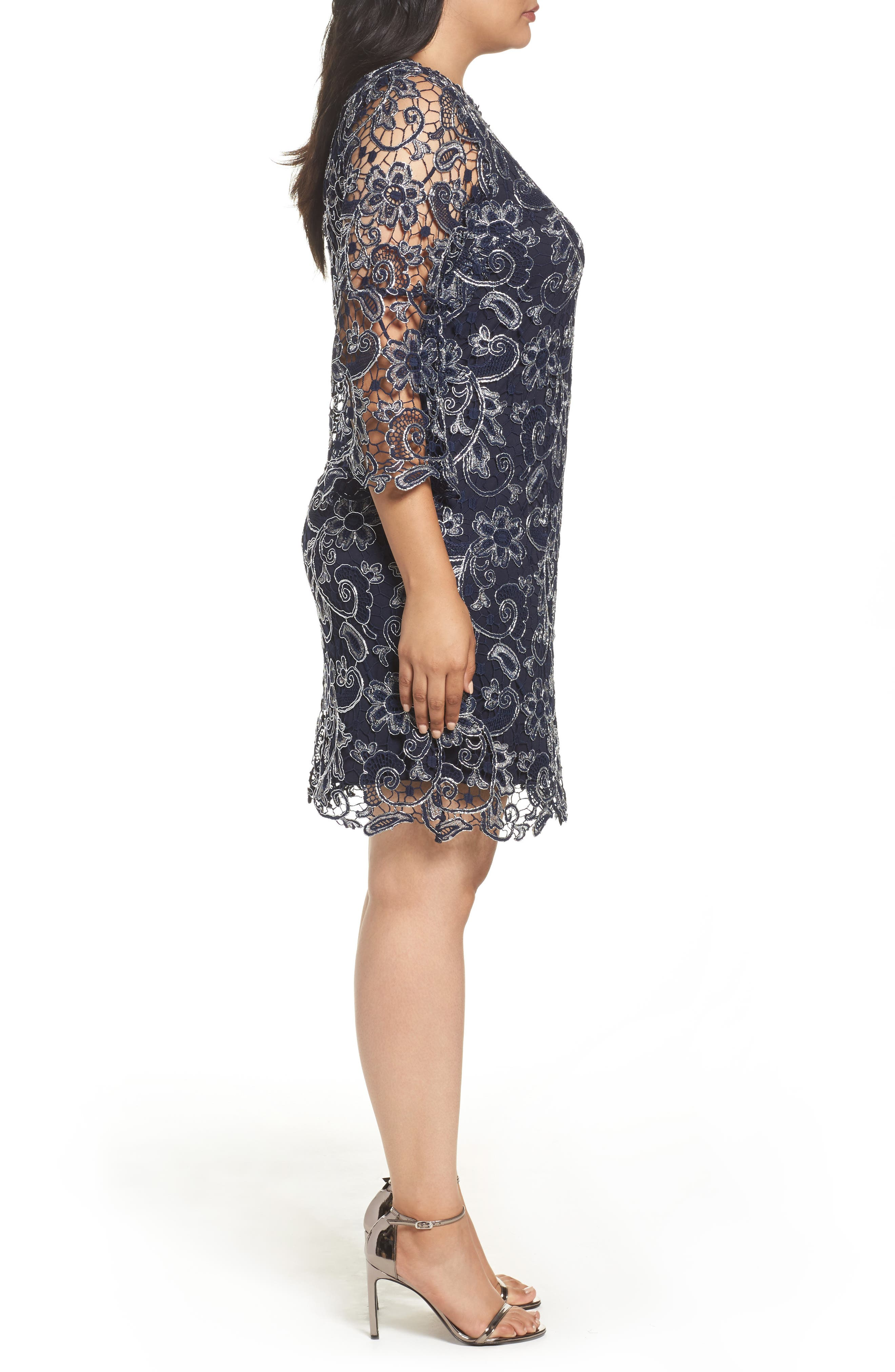Bell Sleeve Lace Shift Dress,                             Alternate thumbnail 5, color,