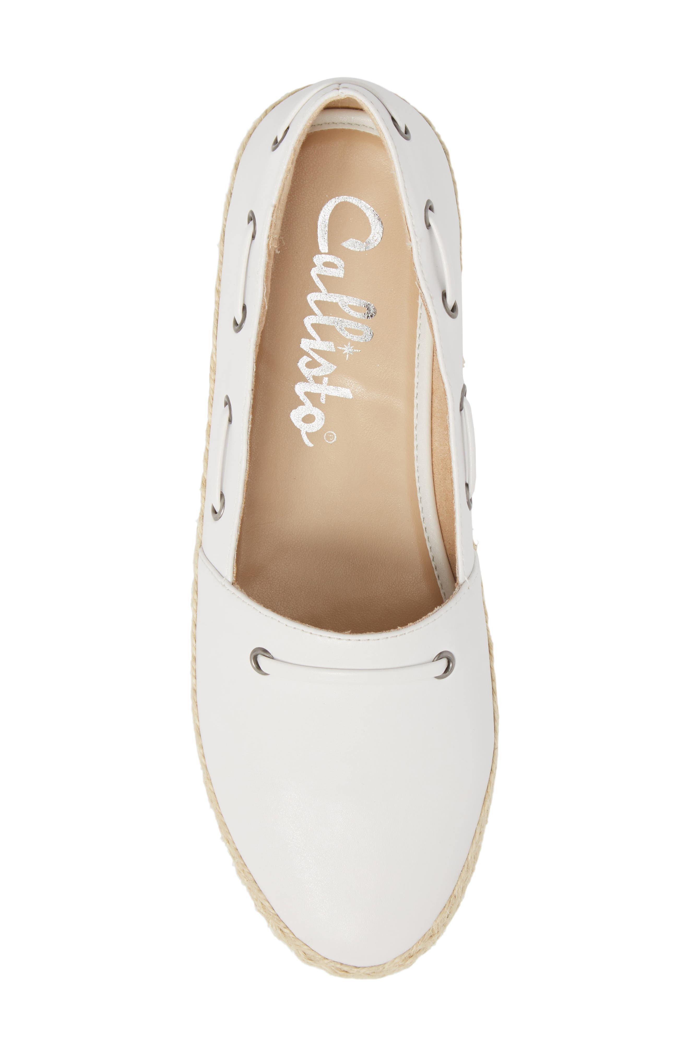 Highlighter Espadrille,                             Alternate thumbnail 5, color,                             WHITE FAUX LEATHER