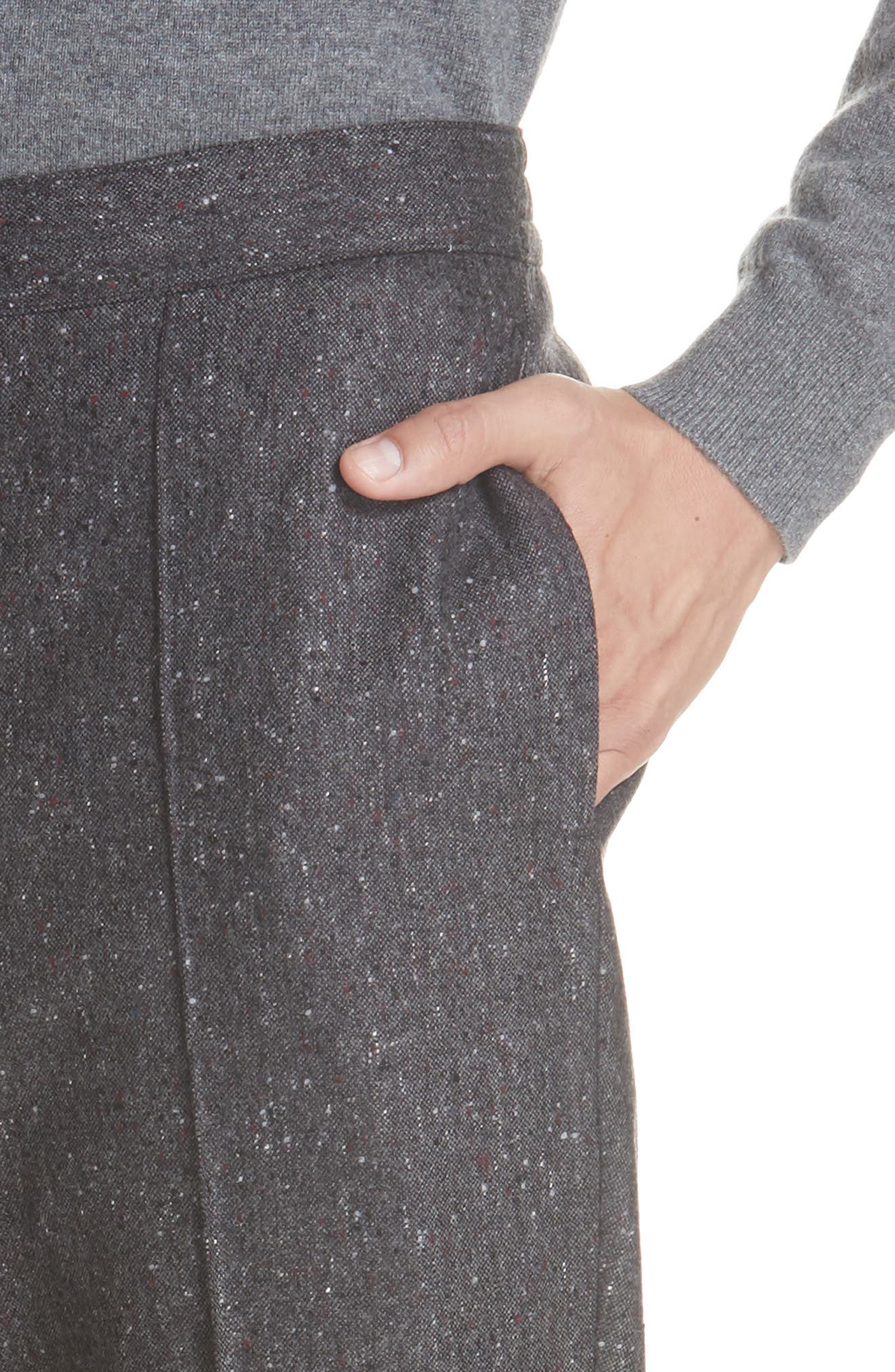 Flat Front Solid Wool Trousers,                             Alternate thumbnail 4, color,                             GREY