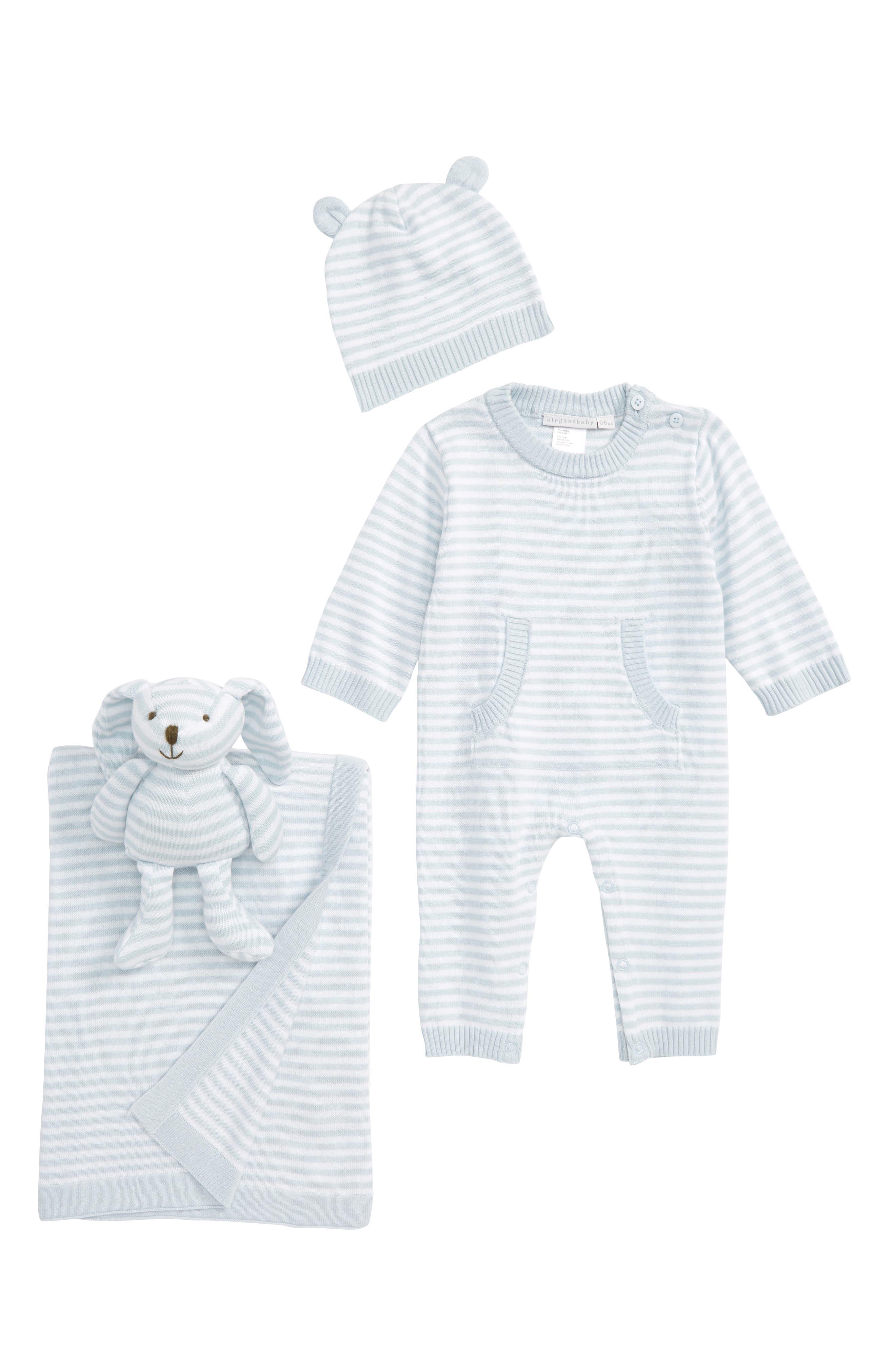 ELEGANT BABY Bunny Romper, Hat, Blanket & Plush Bunny, Main, color, 450