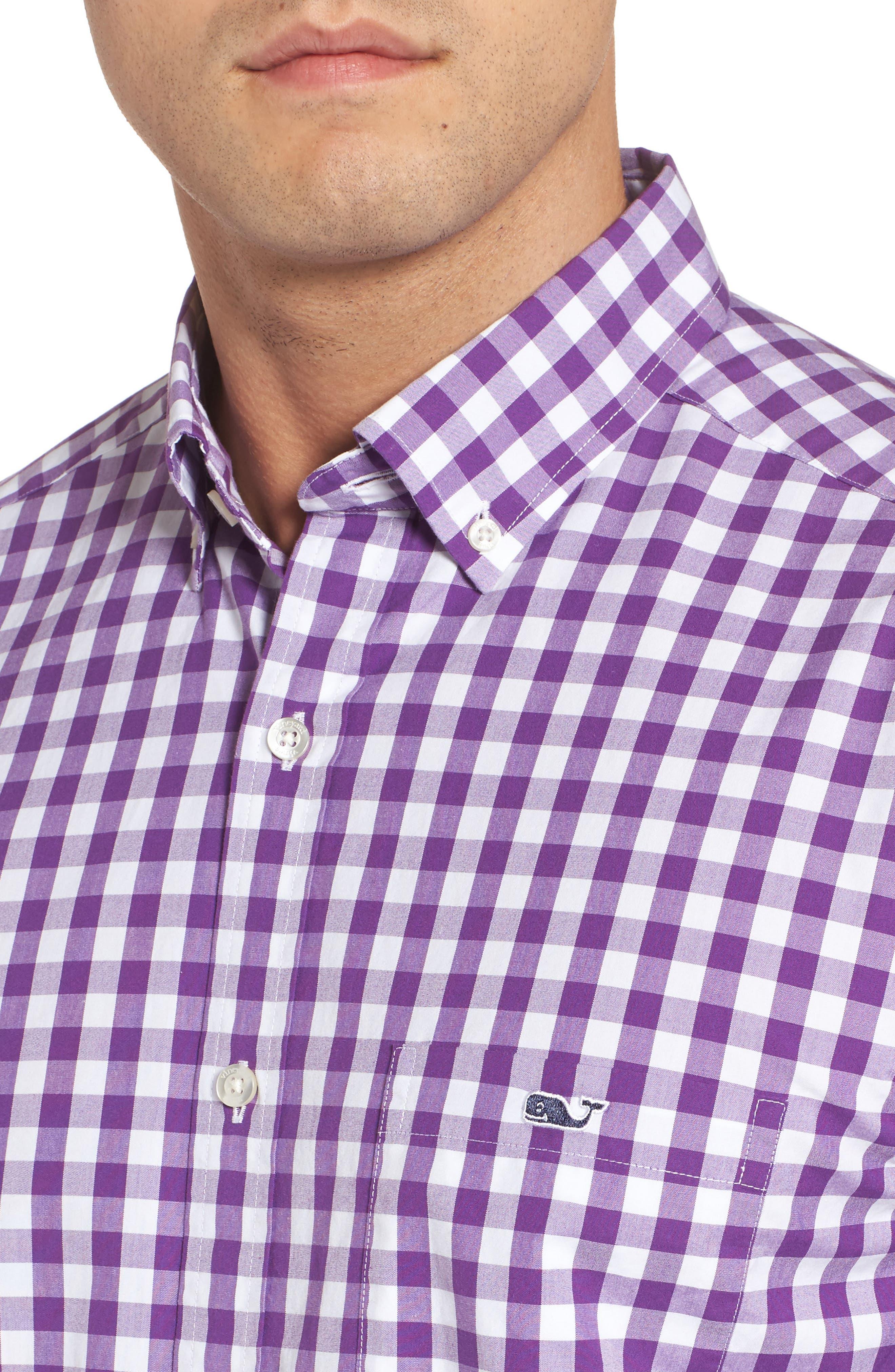 Classic Fit Tucker Garter Gingham Sport Shirt,                             Alternate thumbnail 4, color,