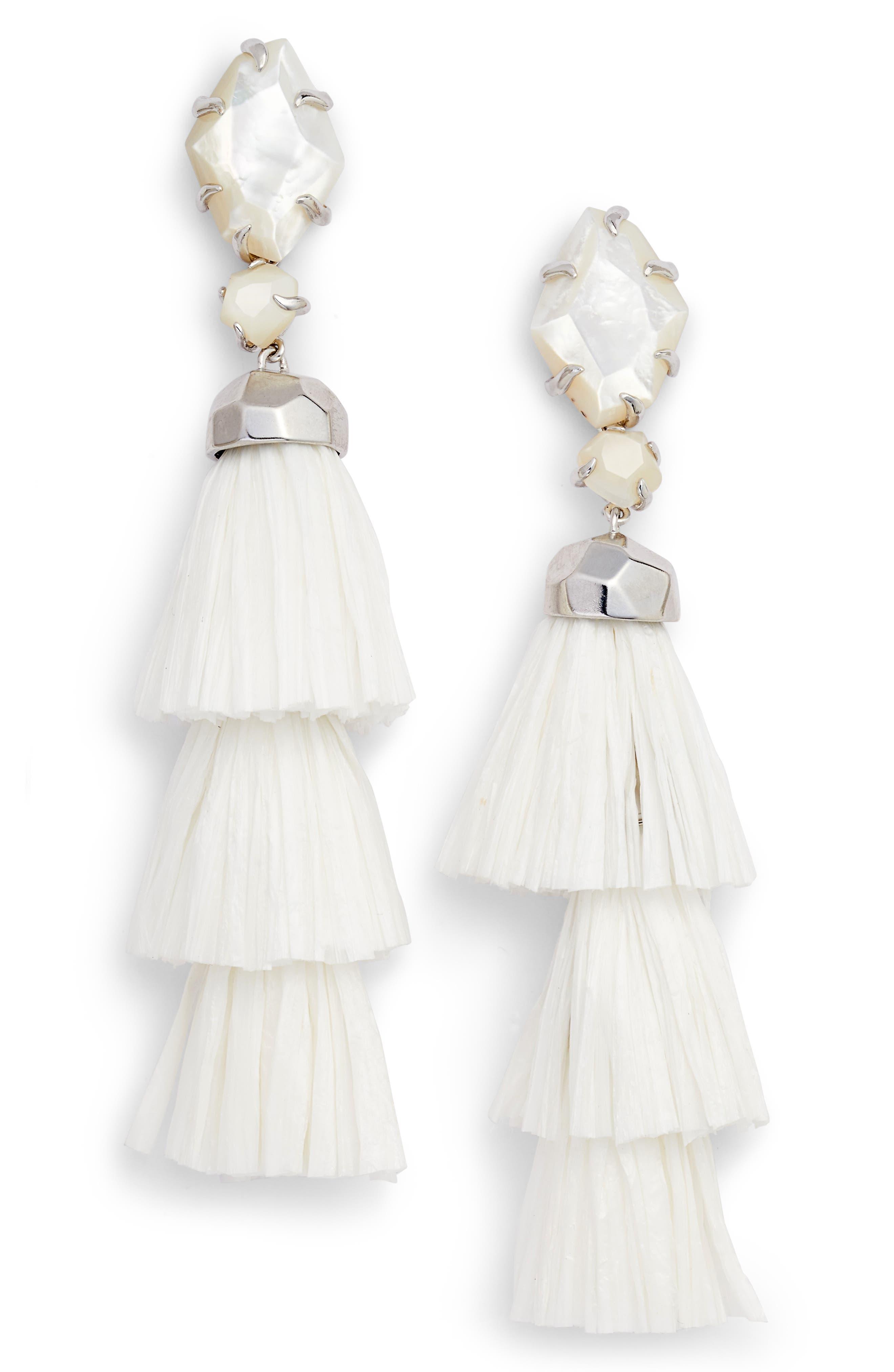 KENDRA SCOTT Denise 3-in-1 Tassel Earrings, Main, color, 100