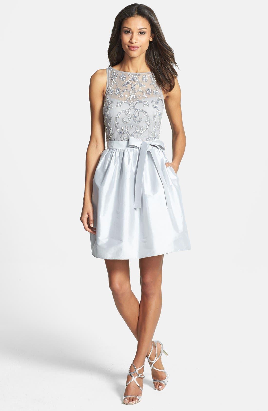 Embellished Bodice Taffeta Fit & Flare Dress,                             Alternate thumbnail 2, color,                             040