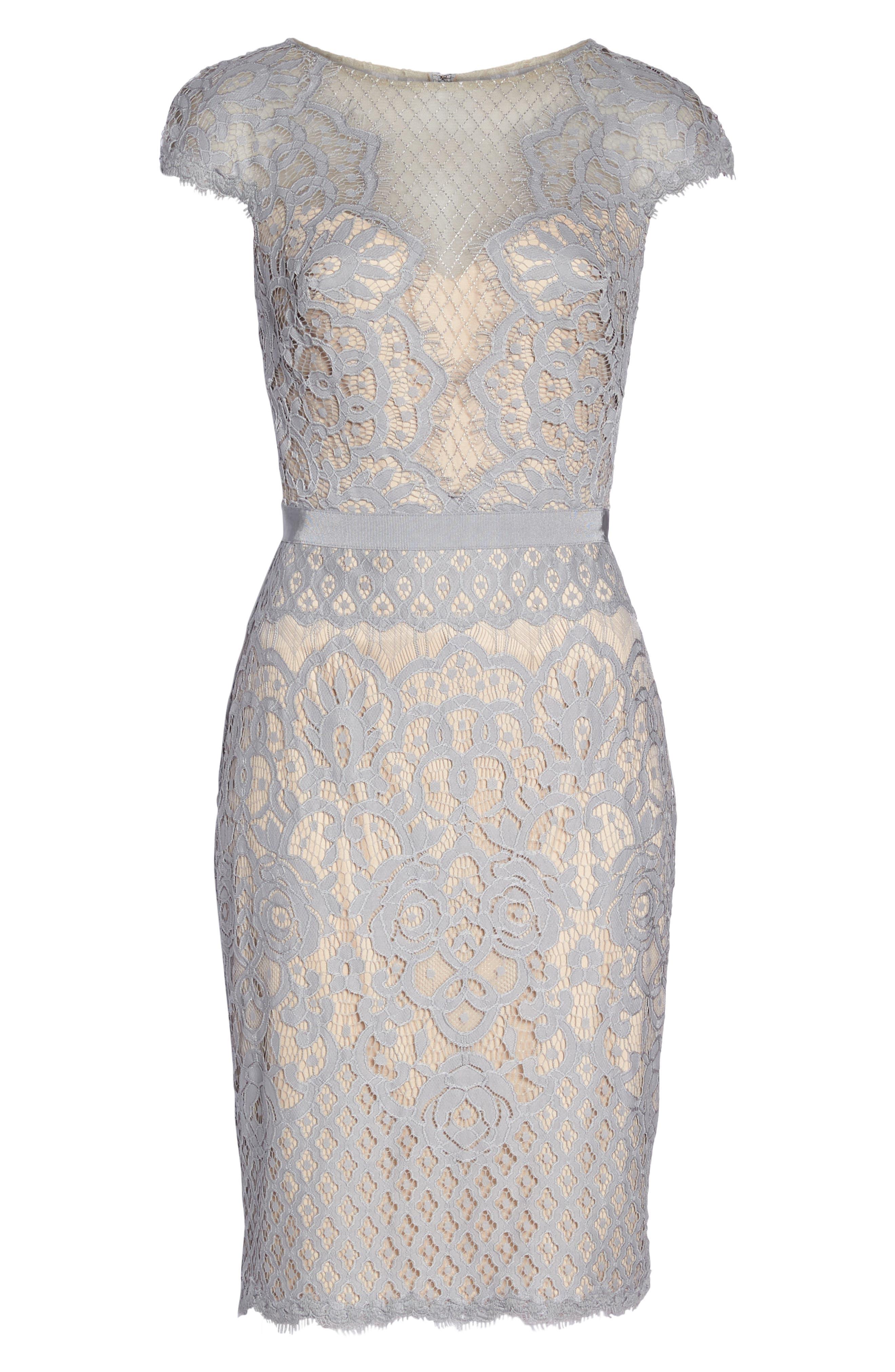 Lace Sheath Dress,                             Alternate thumbnail 6, color,                             PEWTER/ PETAL