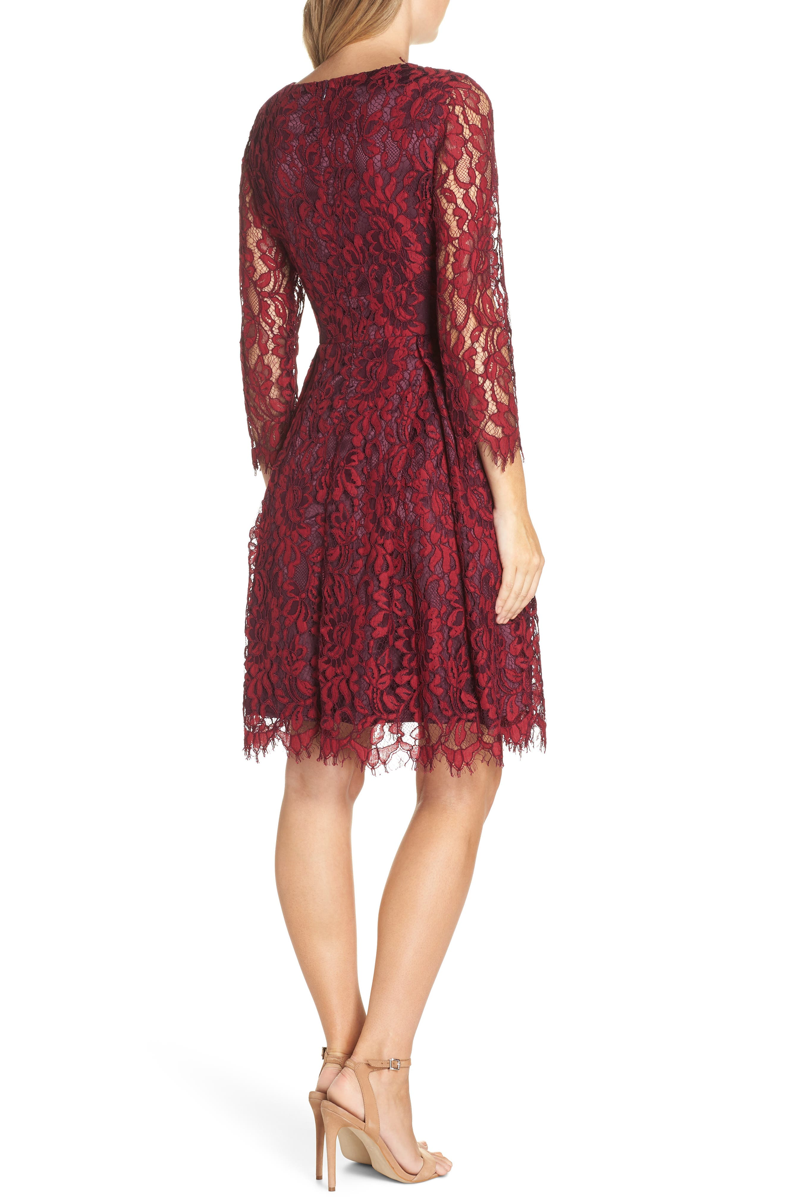 Lace V-Neck Fit & Flare Dress,                             Alternate thumbnail 2, color,                             RED