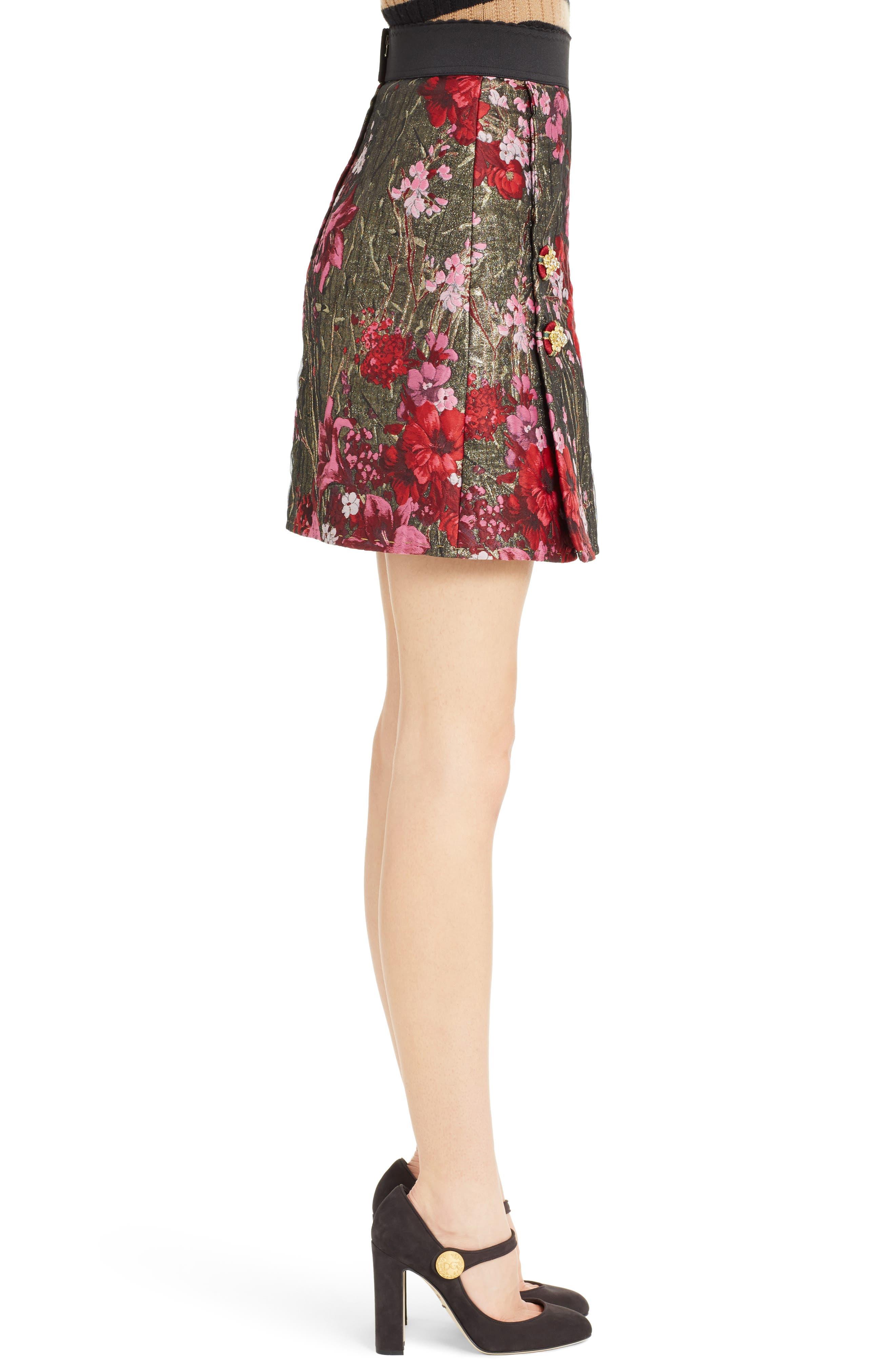 Metallic Jacquard Miniskirt,                             Alternate thumbnail 3, color,                             600