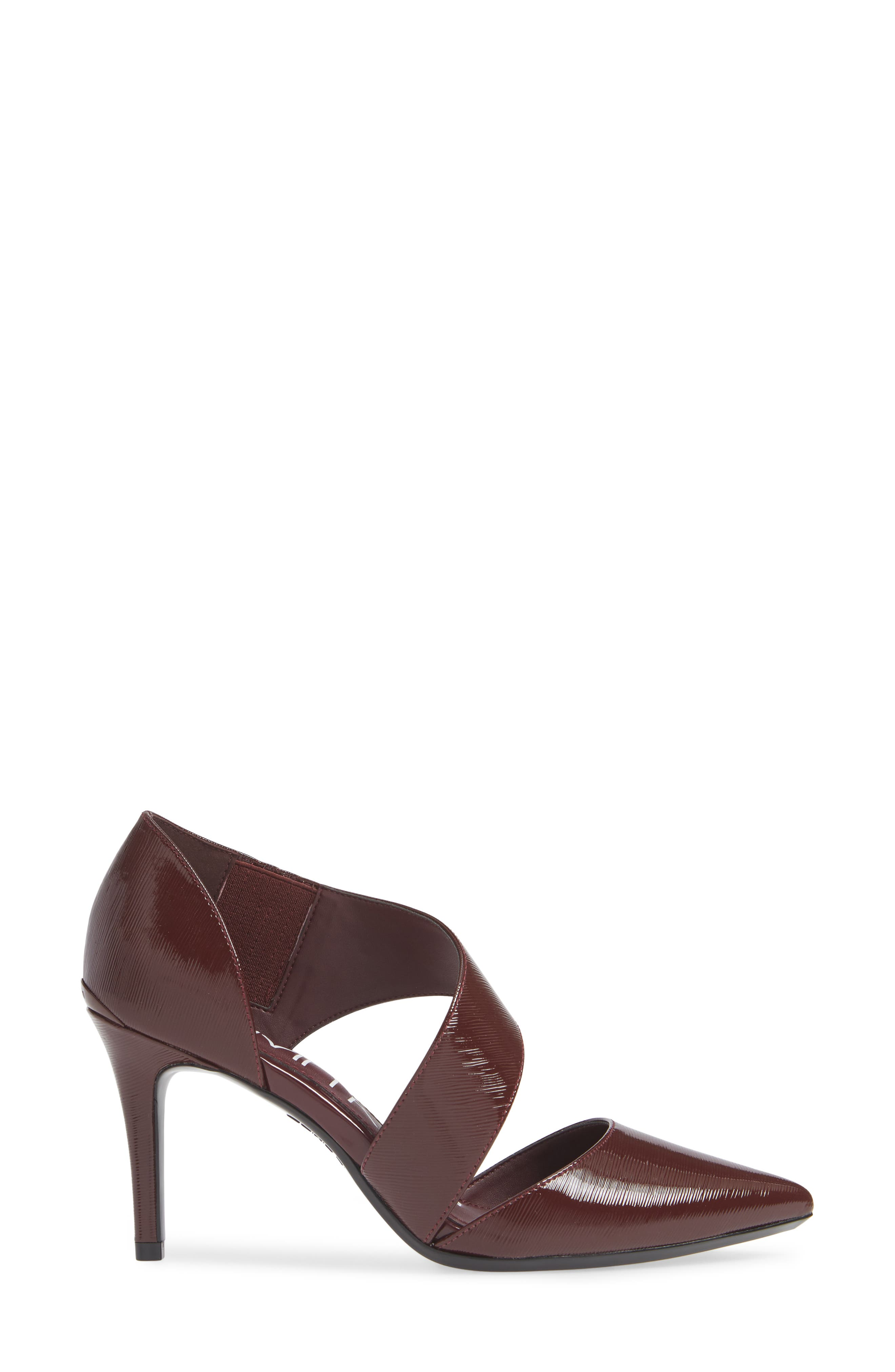 CALVIN KLEIN,                             'Gella' Pointy Toe Pump,                             Alternate thumbnail 3, color,                             AMETHYST PATENT LEATHER