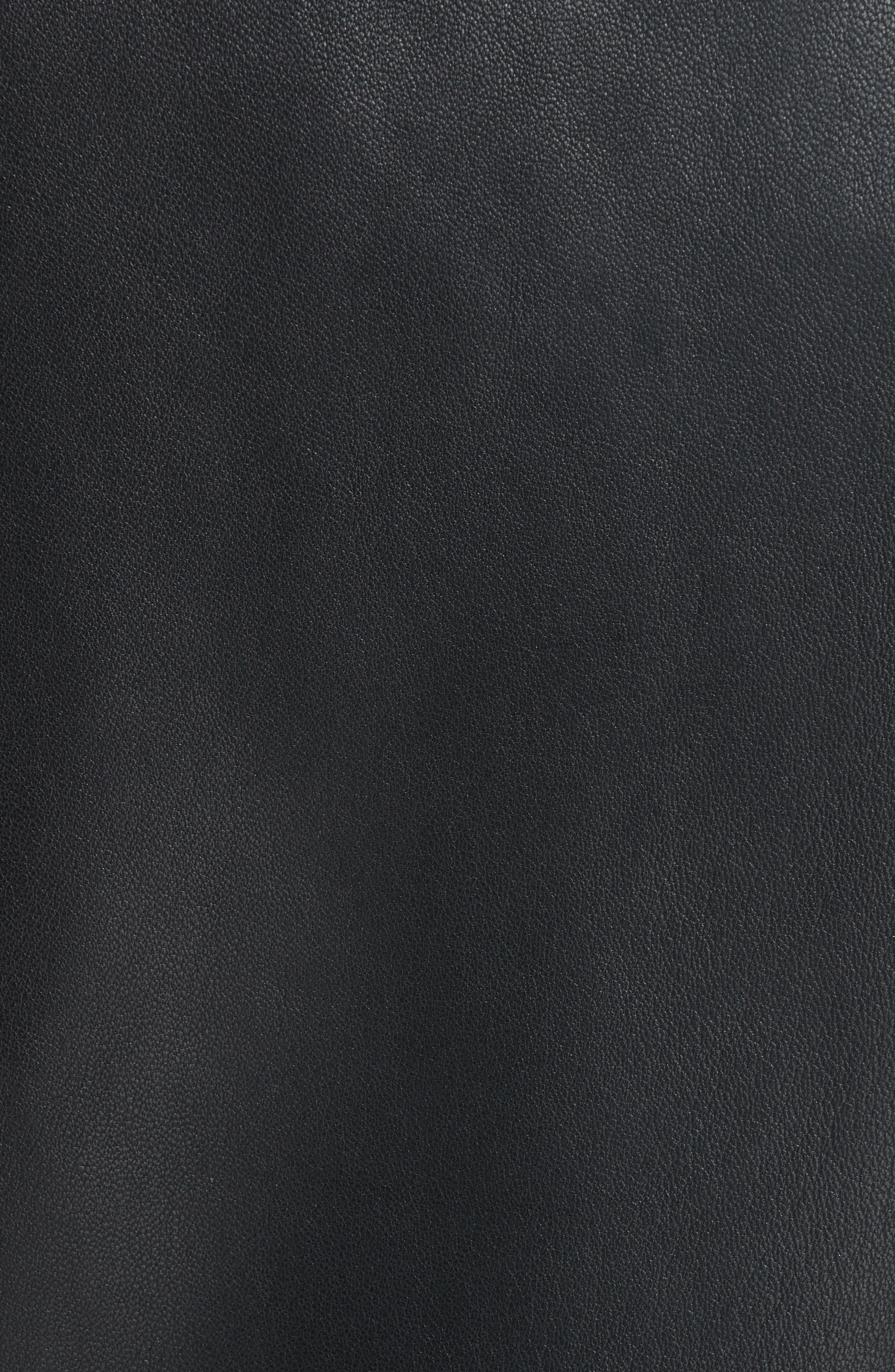 Mock Core Leather Moto Jacket,                             Alternate thumbnail 6, color,                             BLACK