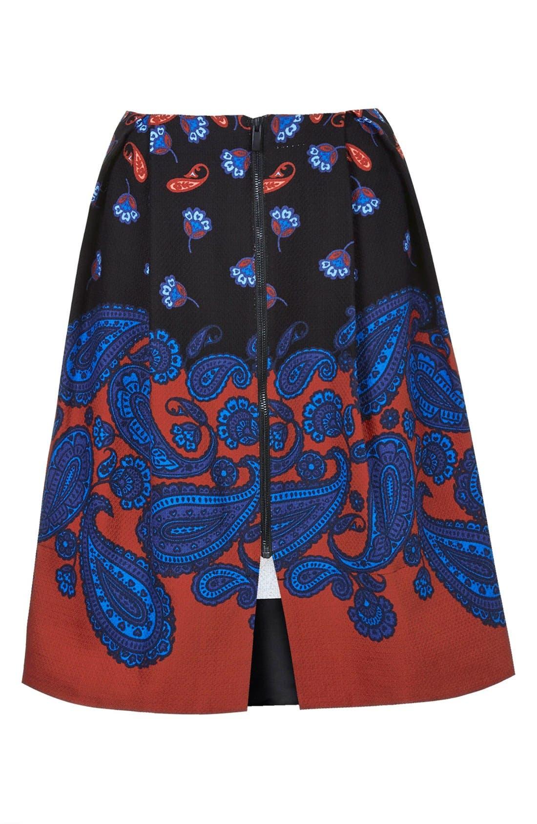 TOPSHOP,                             Paisley Midi Skirt,                             Alternate thumbnail 5, color,                             001