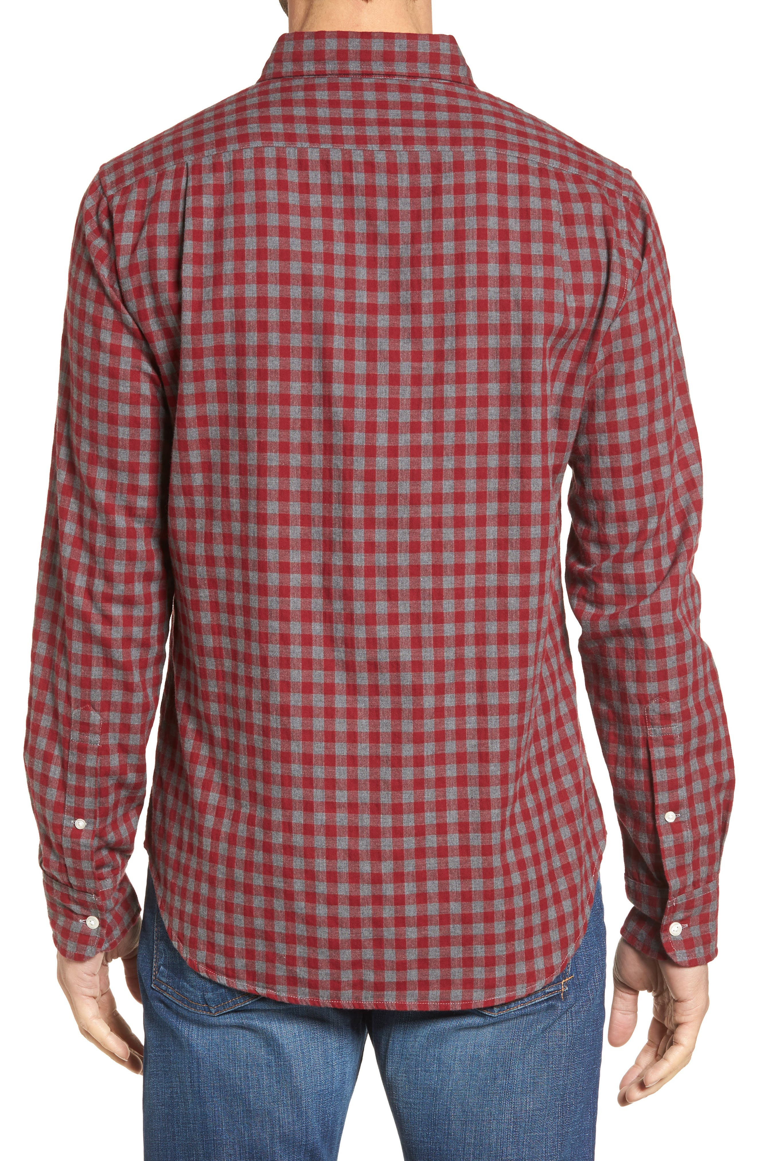 Slim Fit Washed Check Herringbone Sport Shirt,                             Alternate thumbnail 2, color,                             600