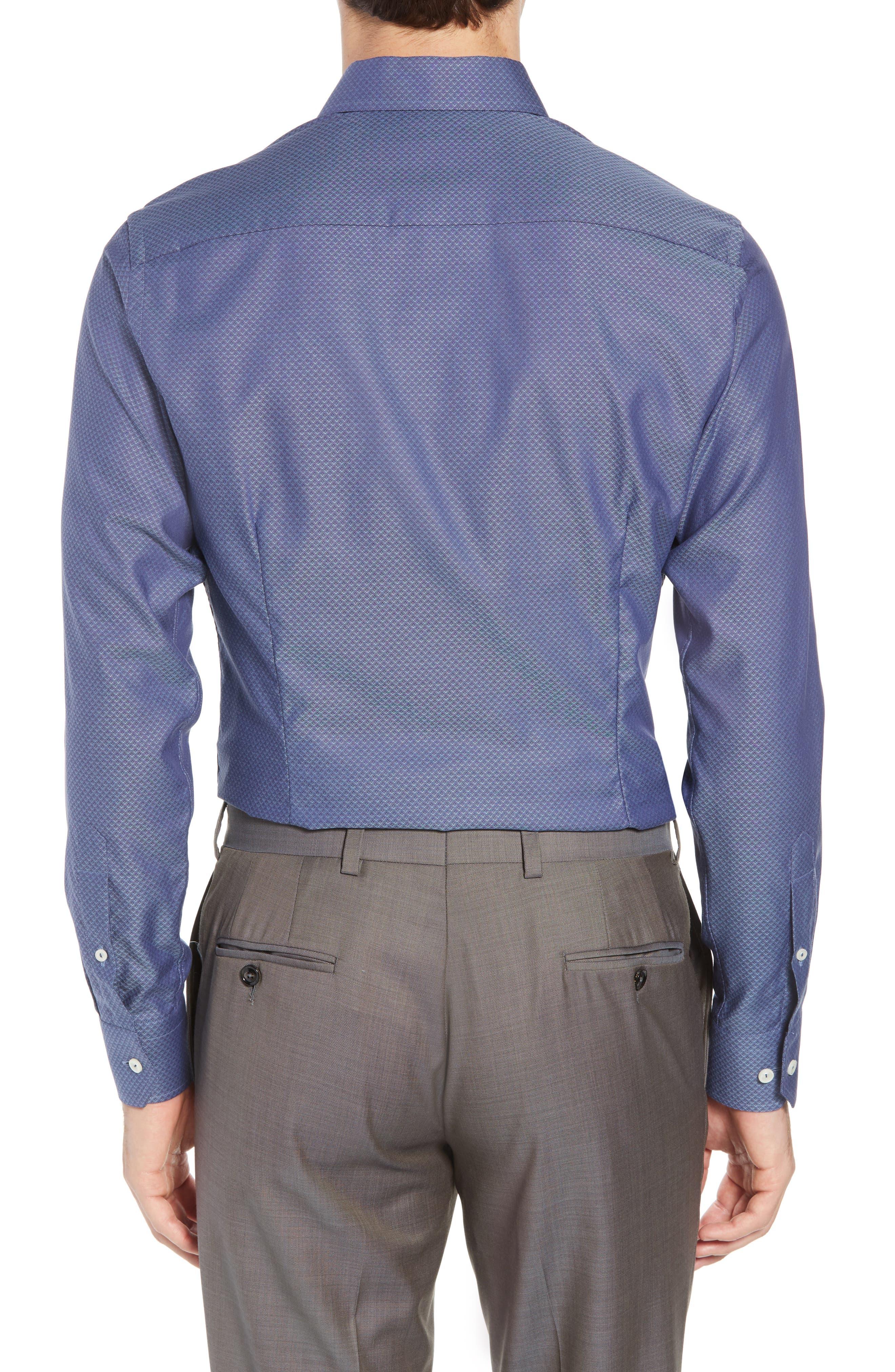 Slim Fit Diamond Print Dress Shirt,                             Alternate thumbnail 3, color,                             400