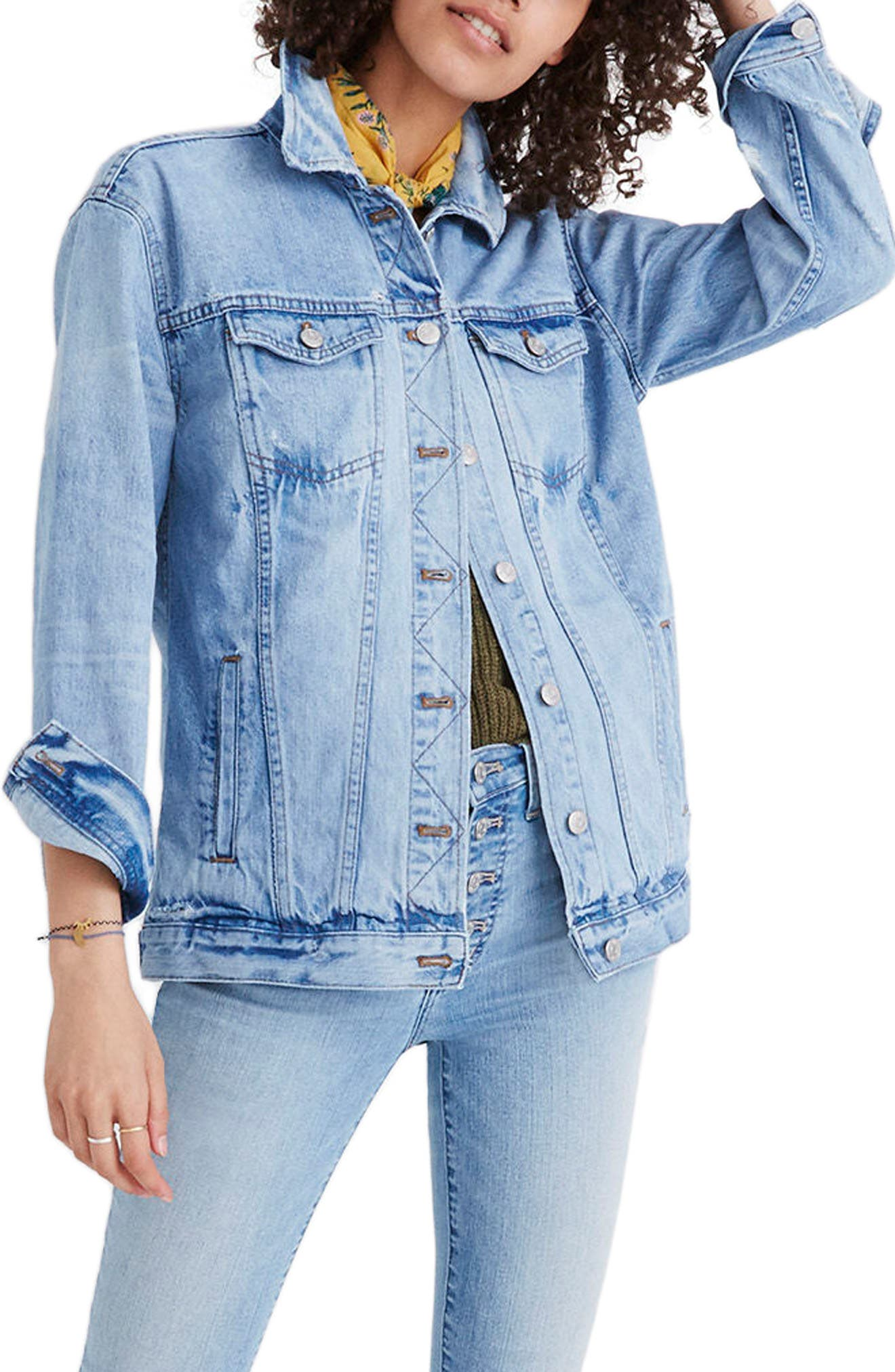 Distressed Oversize Jean Jacket,                         Main,                         color, JUNCTION WASH